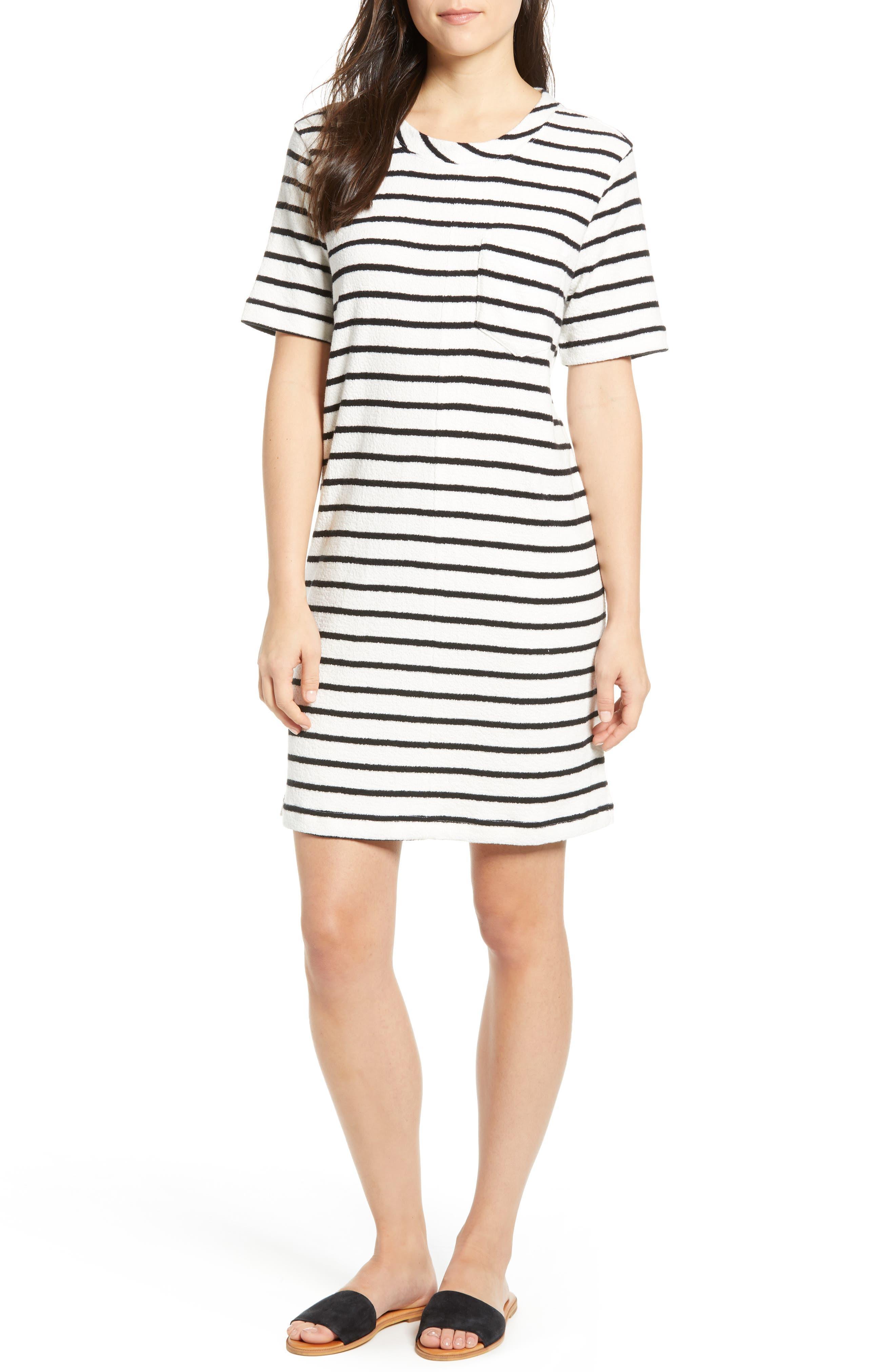 Petite Caslon T-Shirt Dress, White