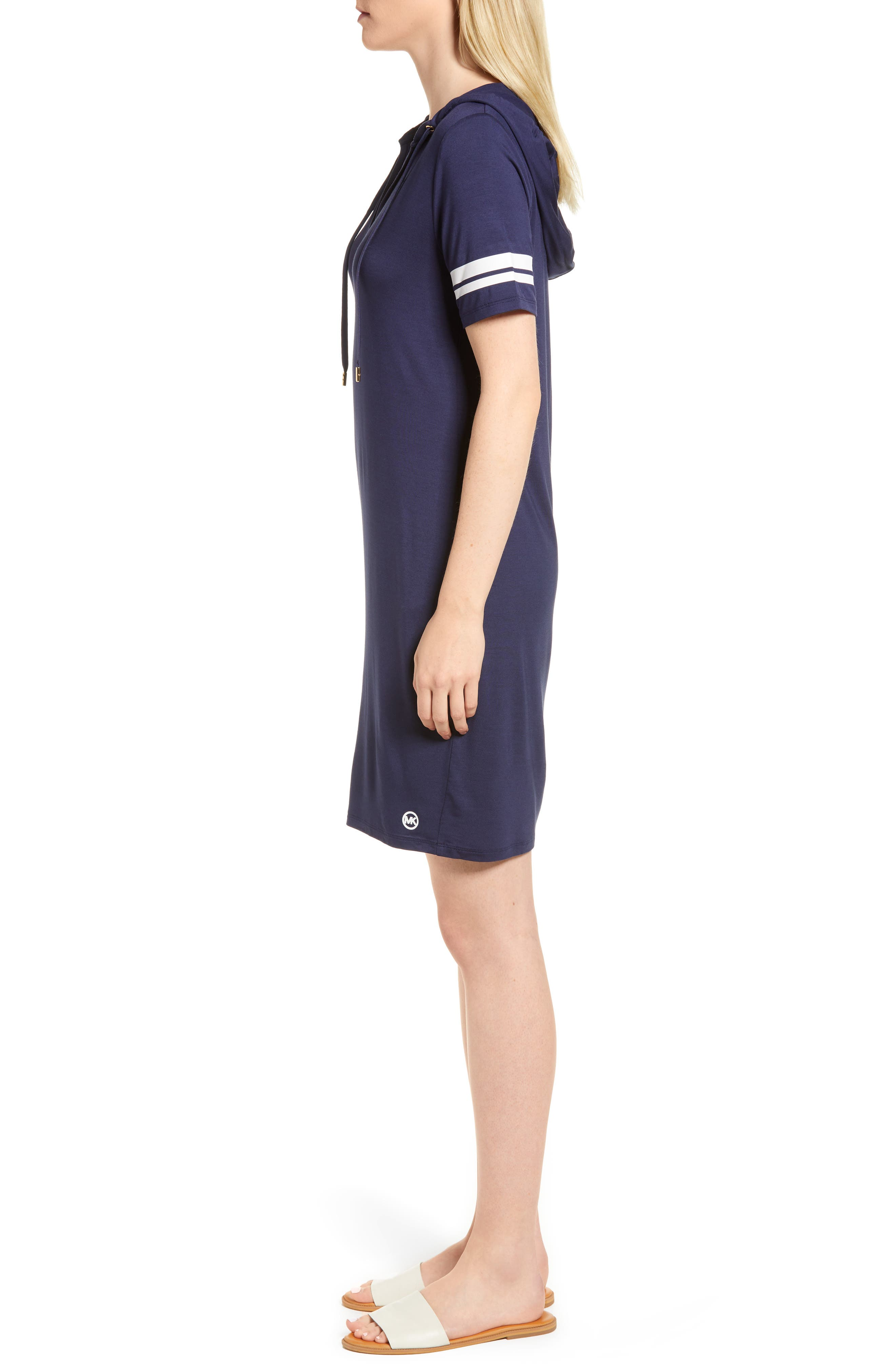 MICHAEL Michal Kors Stripe Sleeve Hoodie Dress,                             Alternate thumbnail 7, color,