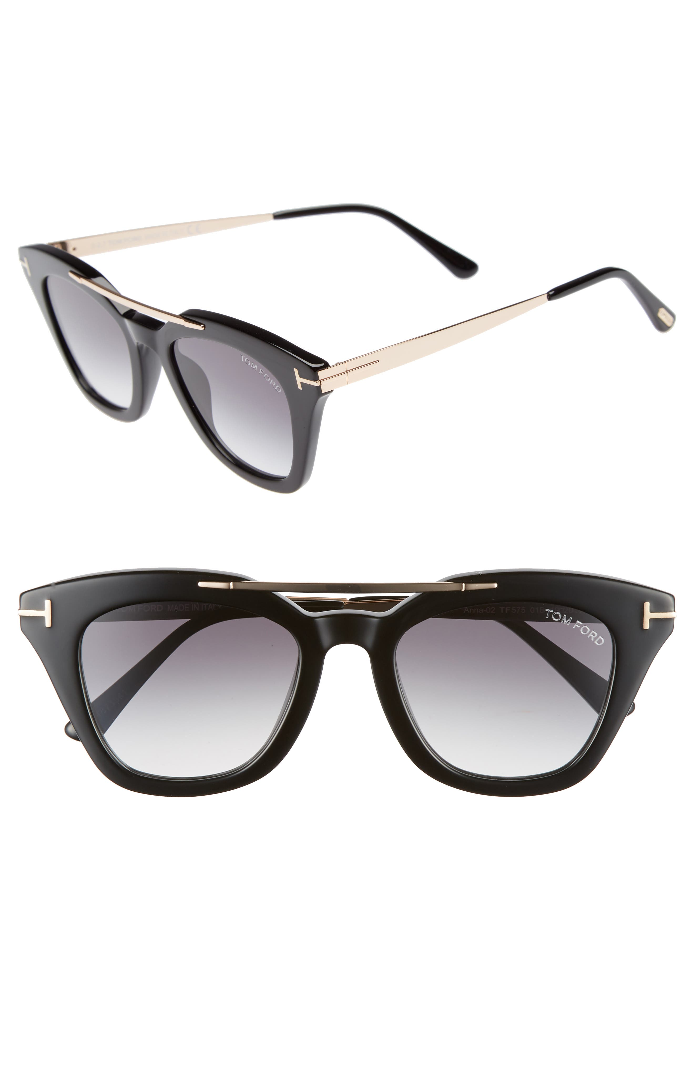 Tom Ford Anna 4m Gradient Sunglasses - Black Acetate/ Rose Gold