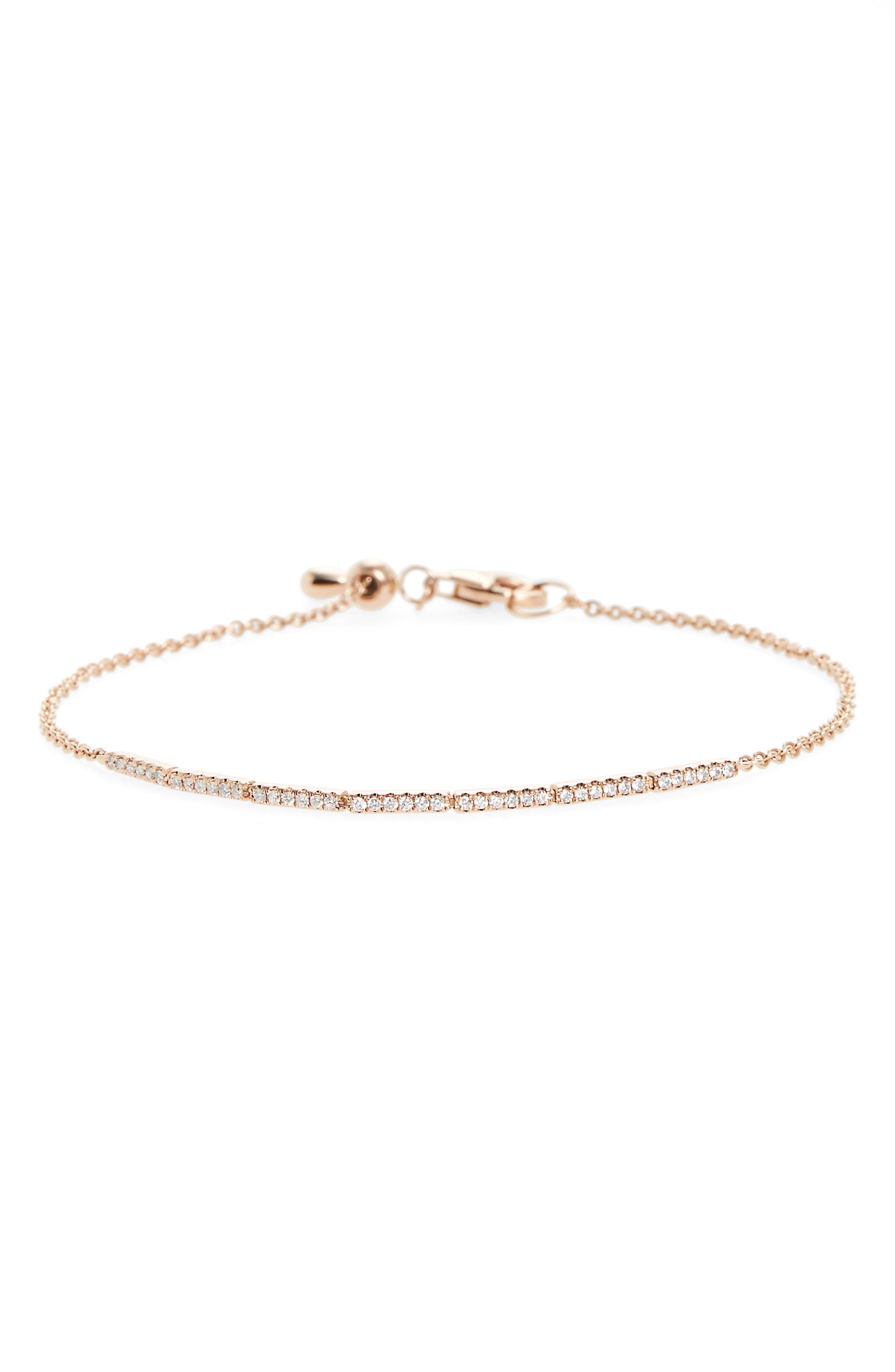 Aviva Adjustable Diamond Bar Bracelet,                             Main thumbnail 1, color,                             YELLOW GOLD