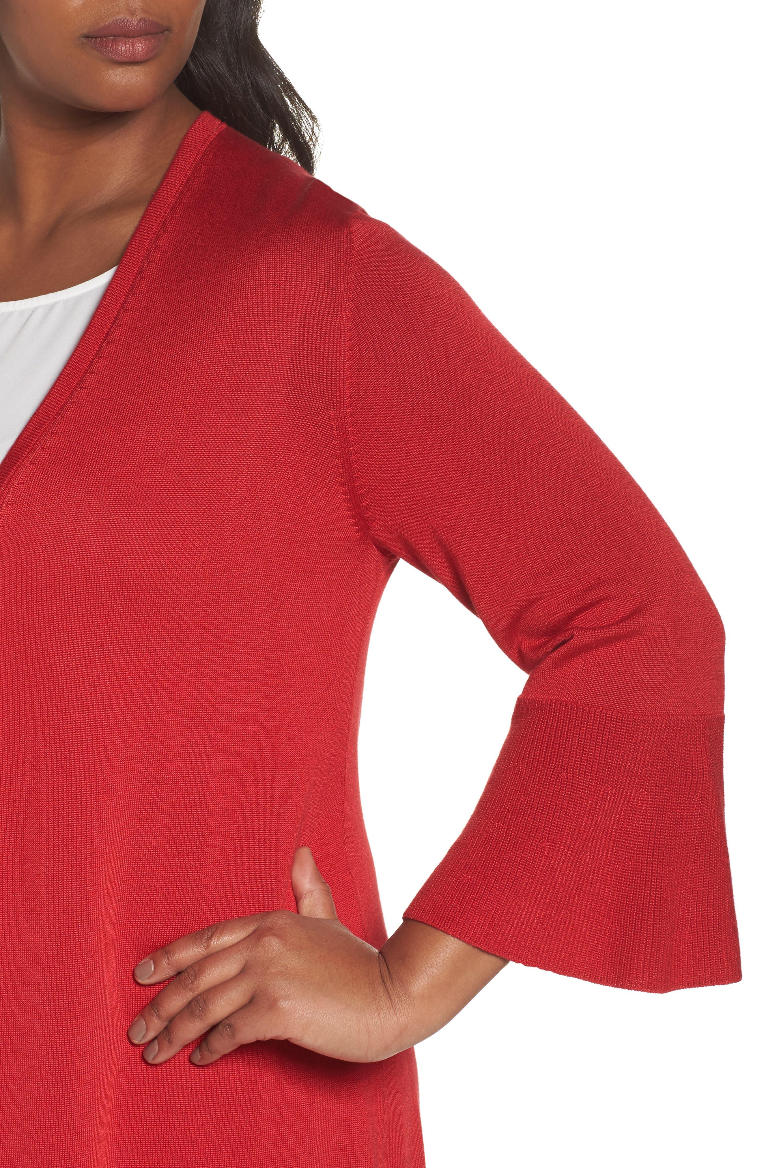 Mila Bell Sleeve Long Cardigan,                             Alternate thumbnail 4, color,                             SCARLET