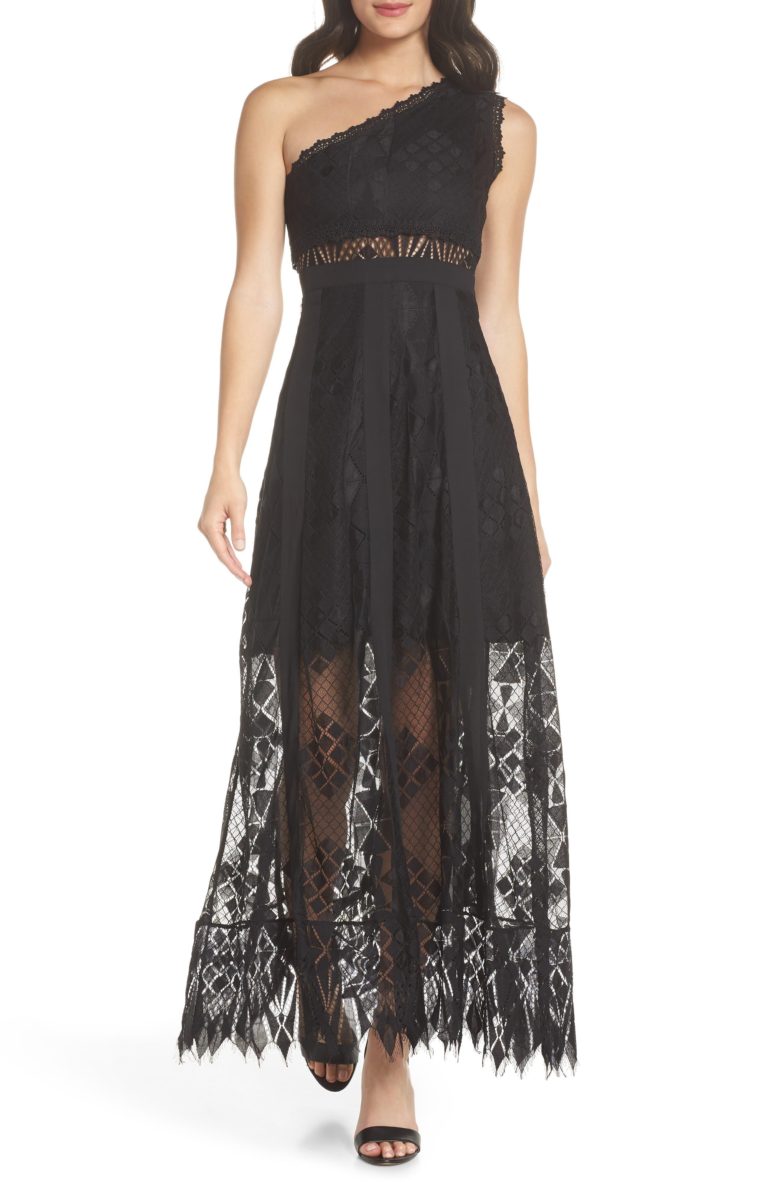 Juliet One-Shoulder Lace Gown,                             Main thumbnail 1, color,                             BLACK/ BLACK
