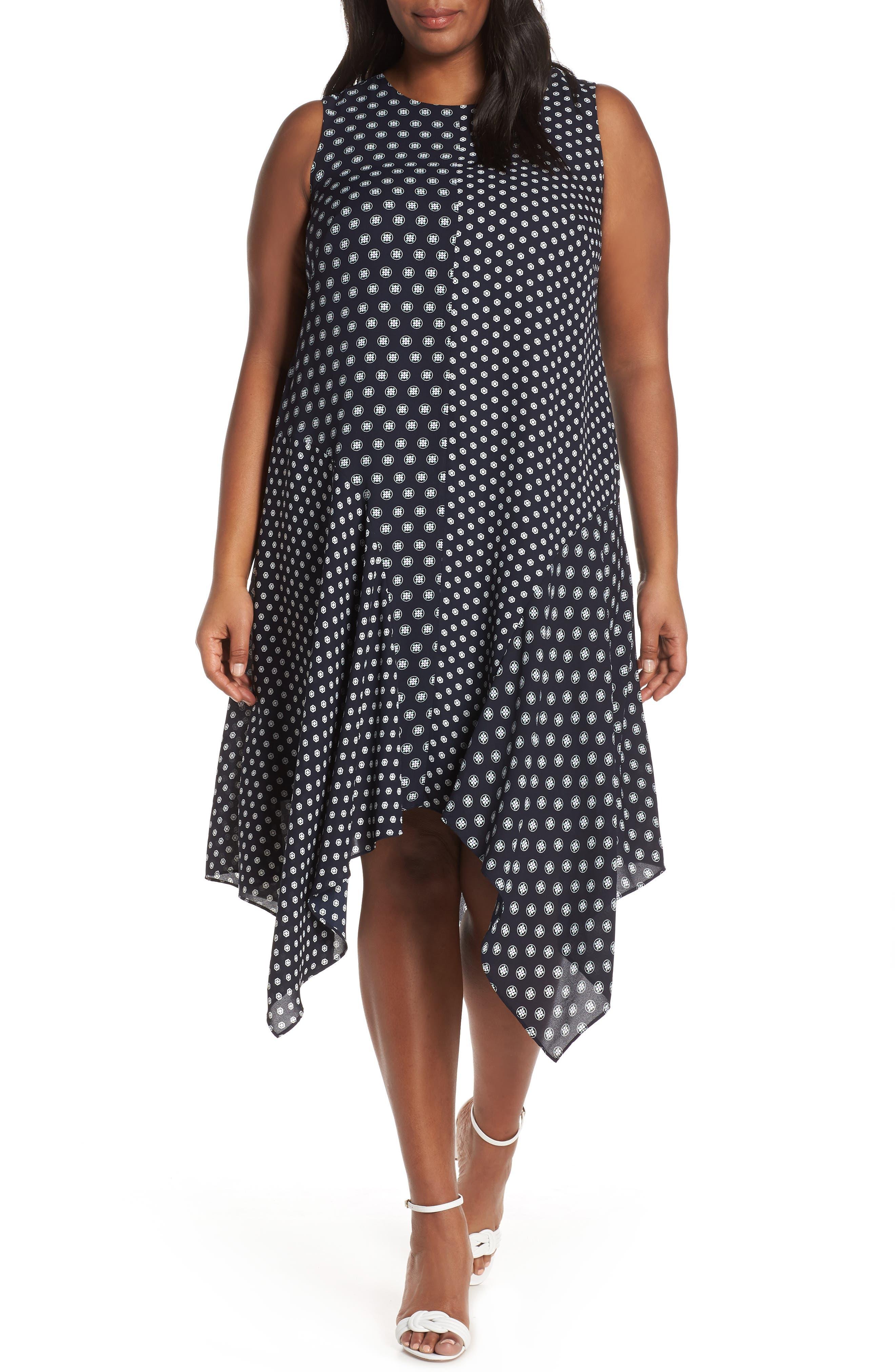Plus Size Vince Camuto Geo Print Handkerchief Hem Shift Dress, Blue