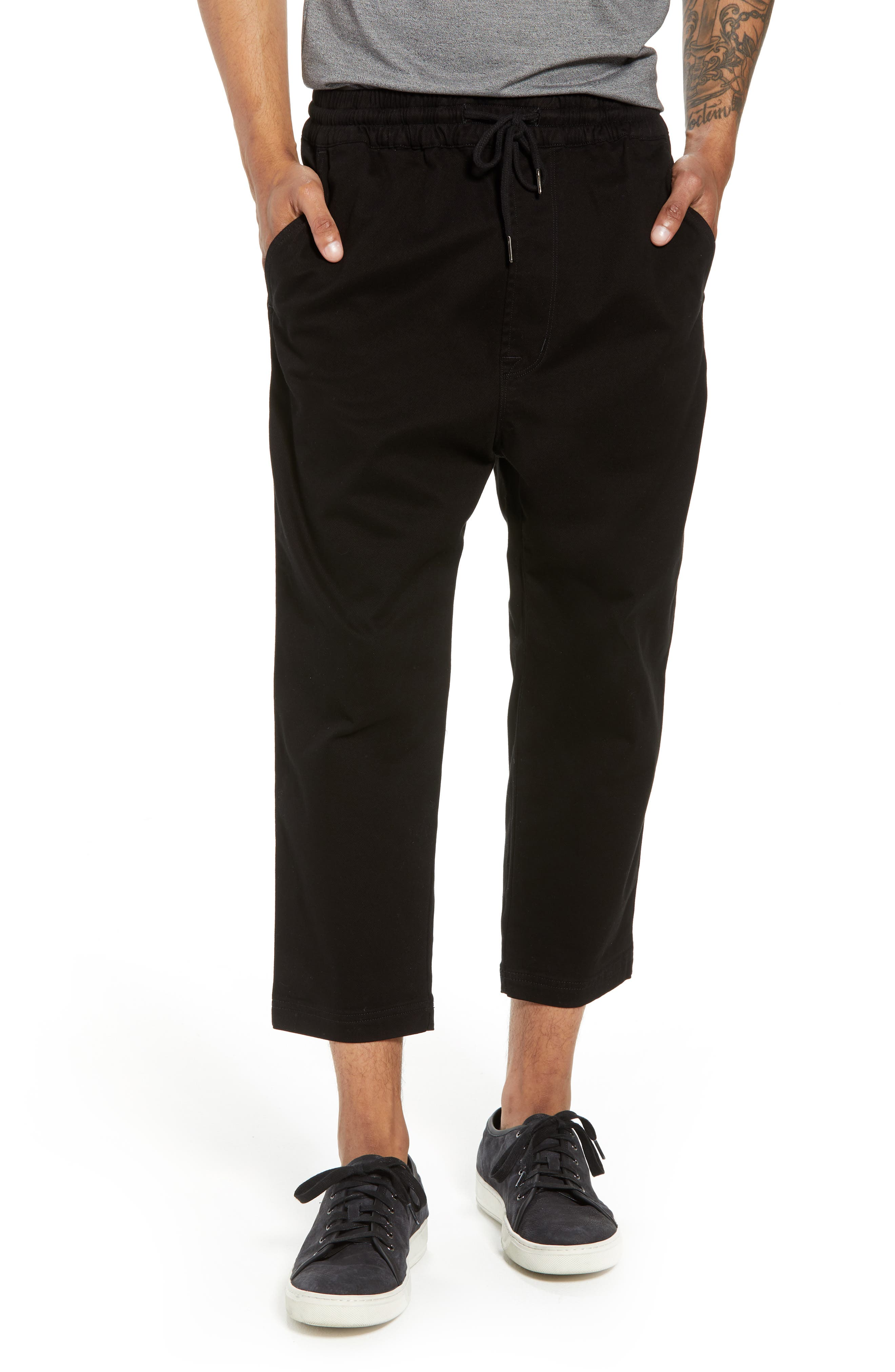 Hudson Leo Drop Crotch Pants,                         Main,                         color, 001