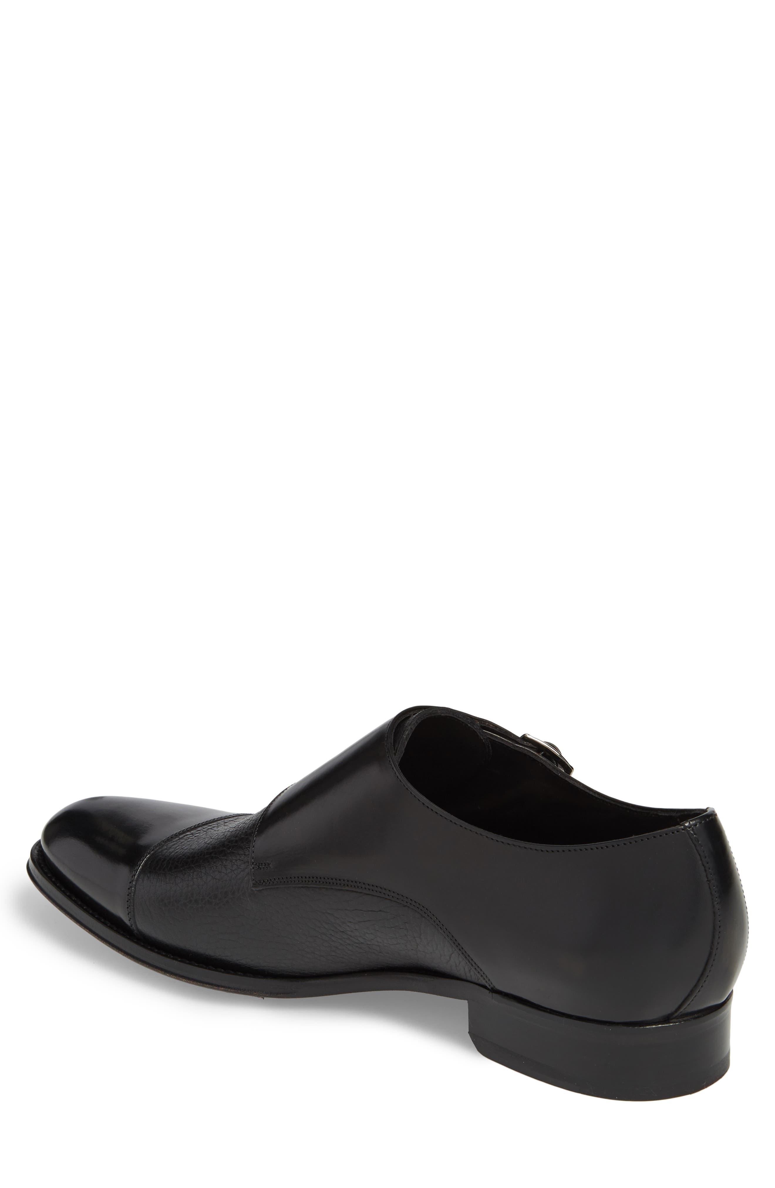Kiev Double Monk Strap Shoe,                             Alternate thumbnail 2, color,                             BLACK/ BLACK LEATHER