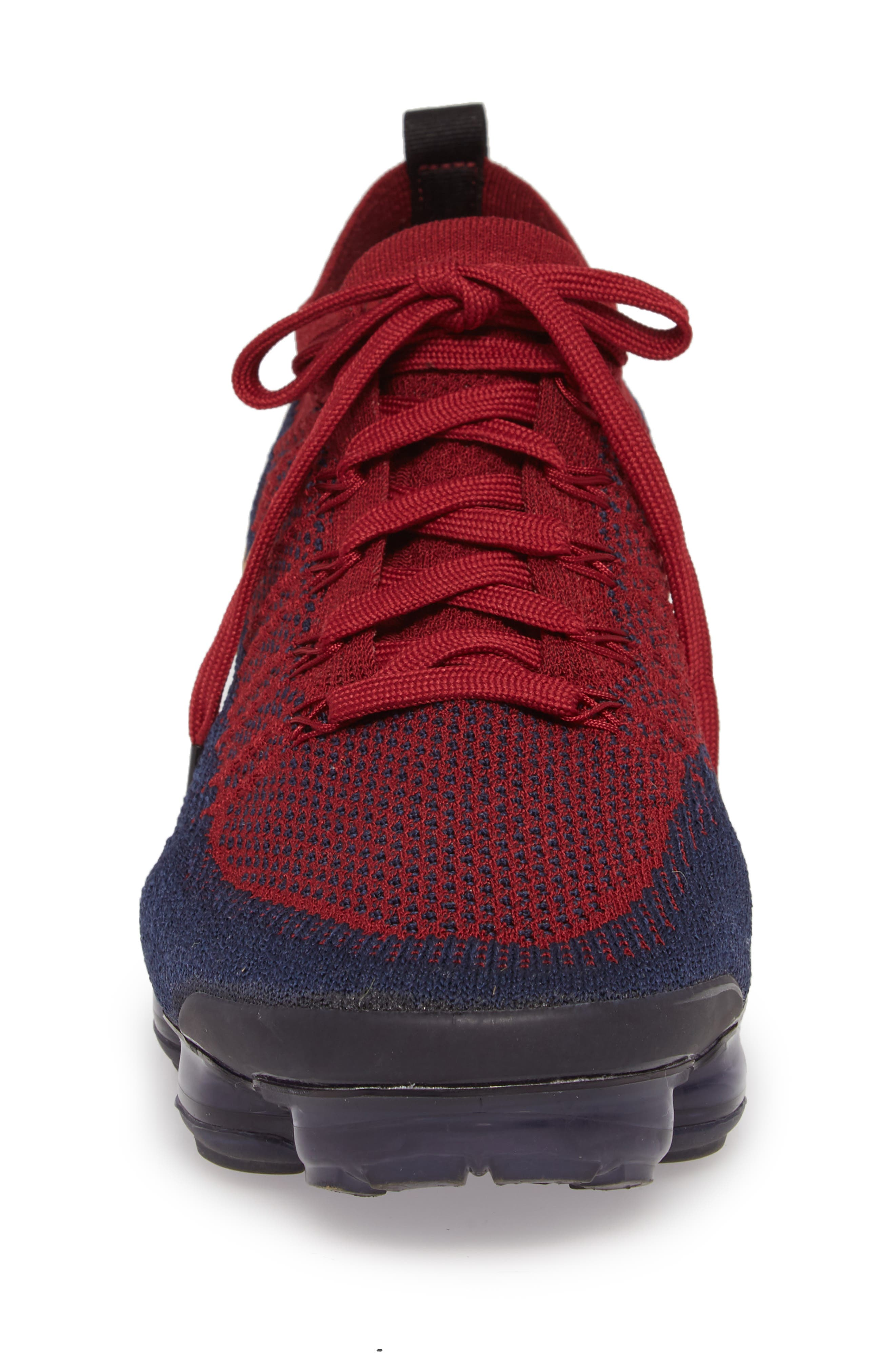 Air Vapormax Flyknit 2 Running Shoe,                             Alternate thumbnail 4, color,                             TEAM RED/ WHEAT/ OBSIDIAN