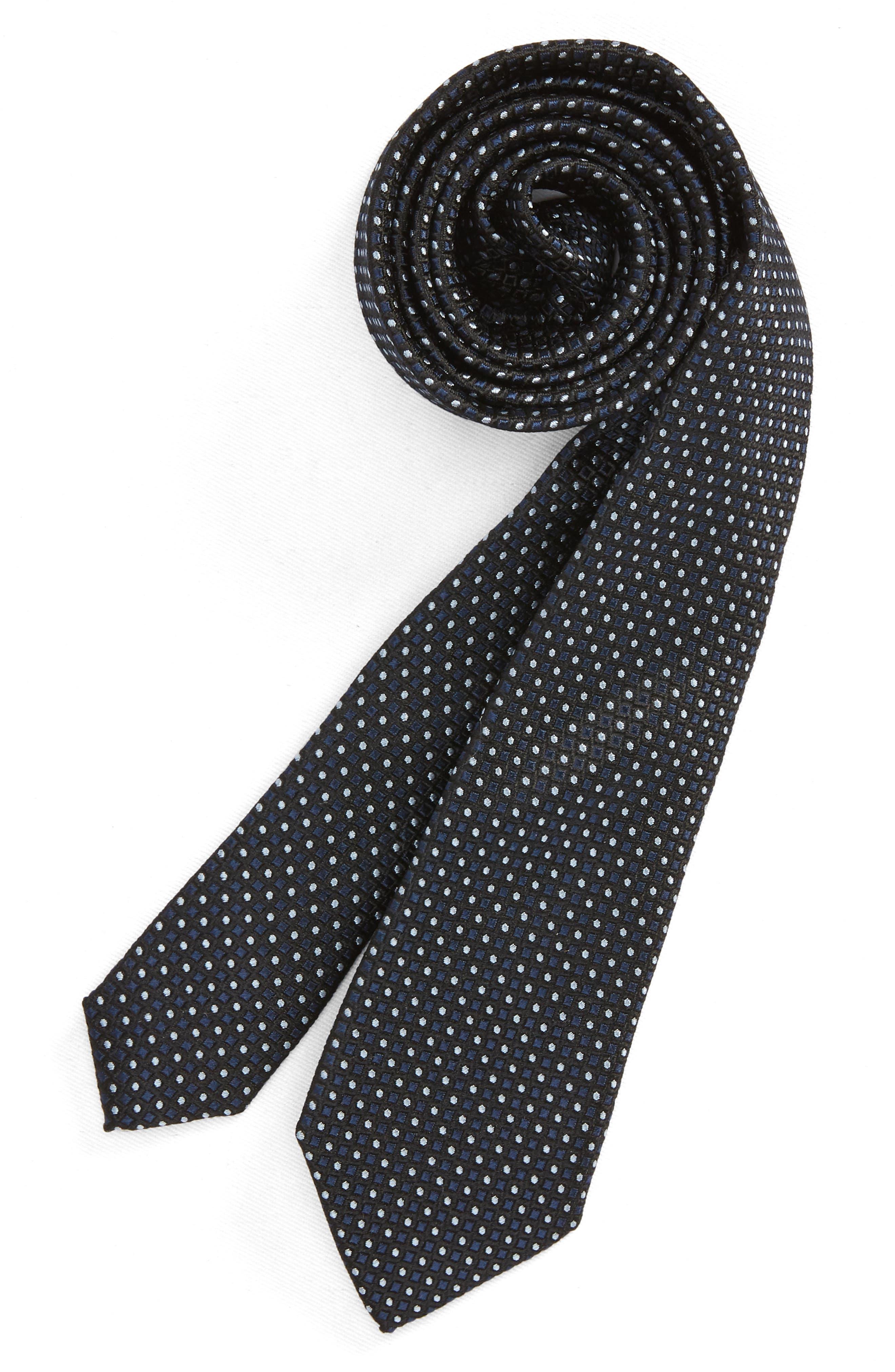 Diamonds & Dots Print Silk Tie,                             Main thumbnail 1, color,