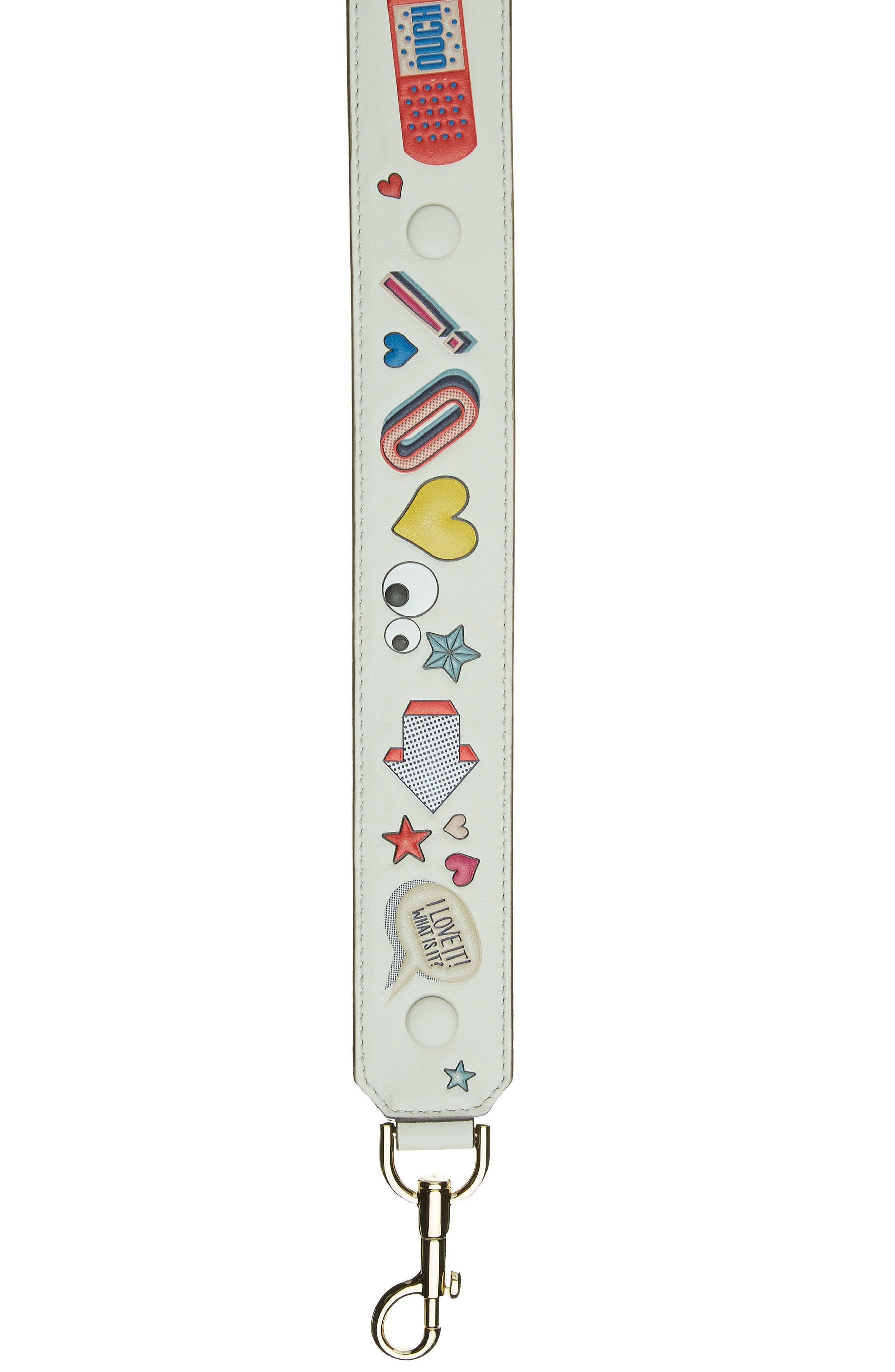 Build a Bag Stickers Leather Shoulder Strap,                             Alternate thumbnail 9, color,