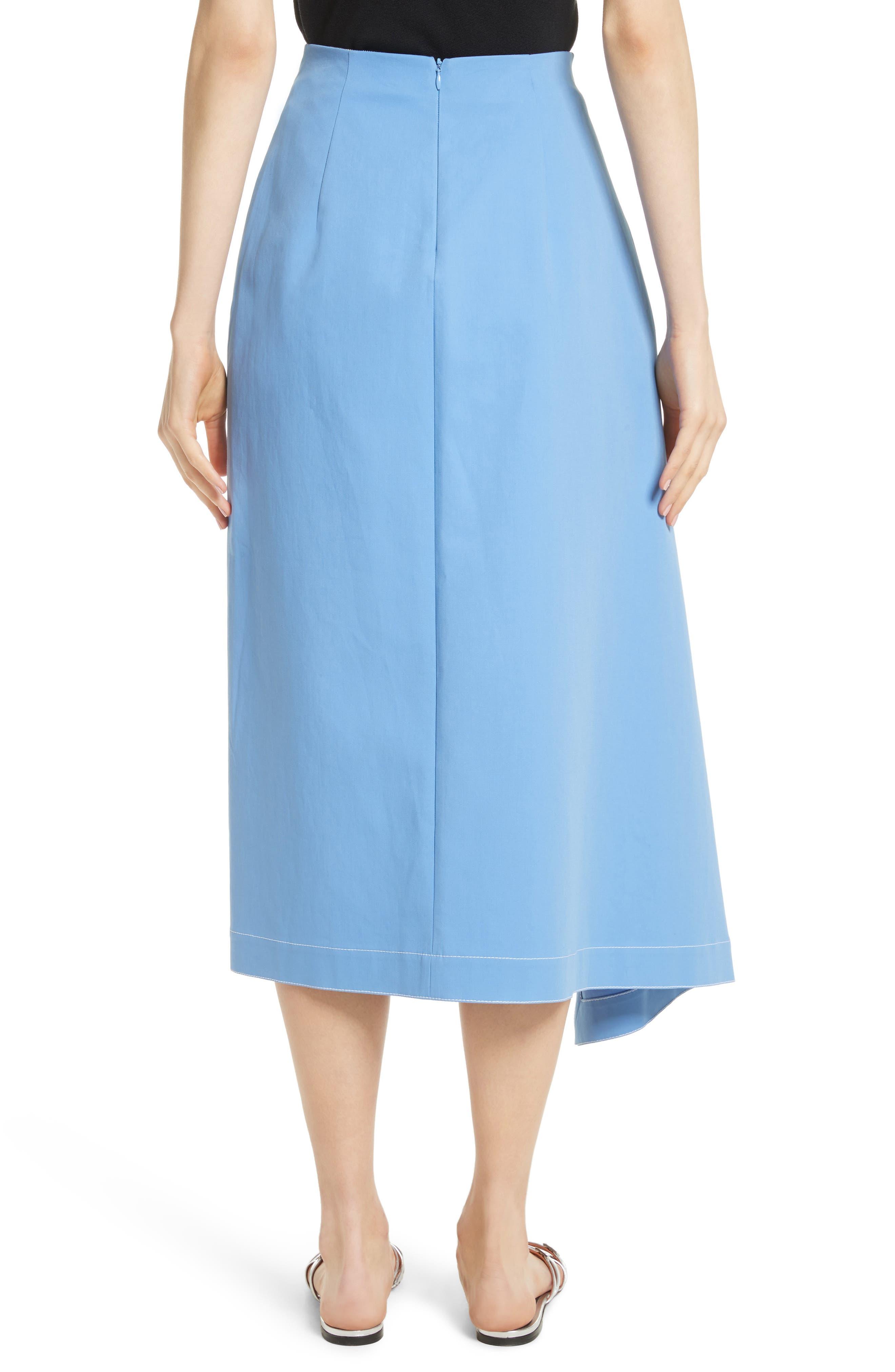Asymmetrical Stretch Cotton Skirt,                             Alternate thumbnail 2, color,                             450