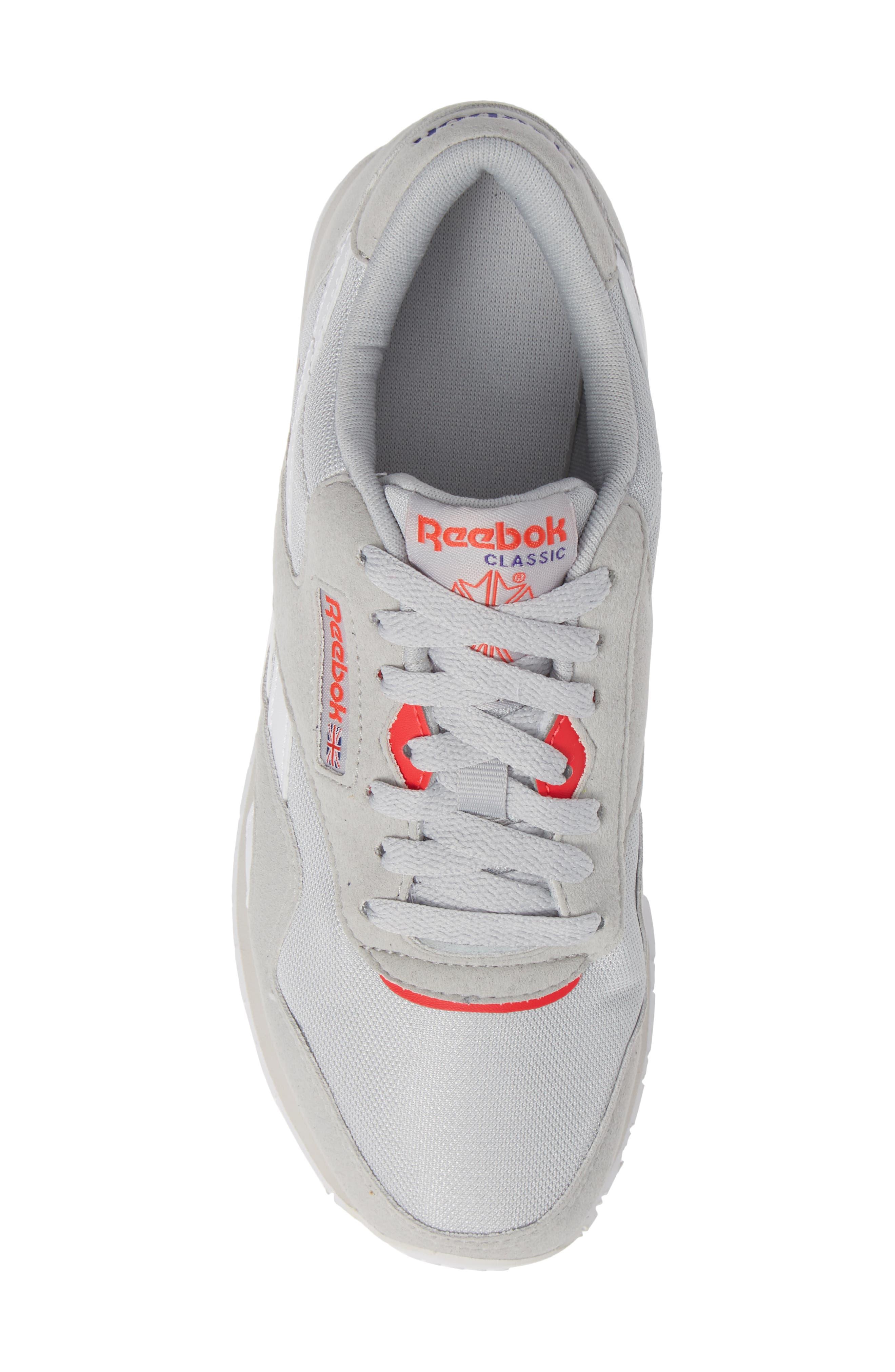 Classic Nylon TXT Sneaker,                             Alternate thumbnail 5, color,                             GREY/ NEON CHERRY/ PURPLE