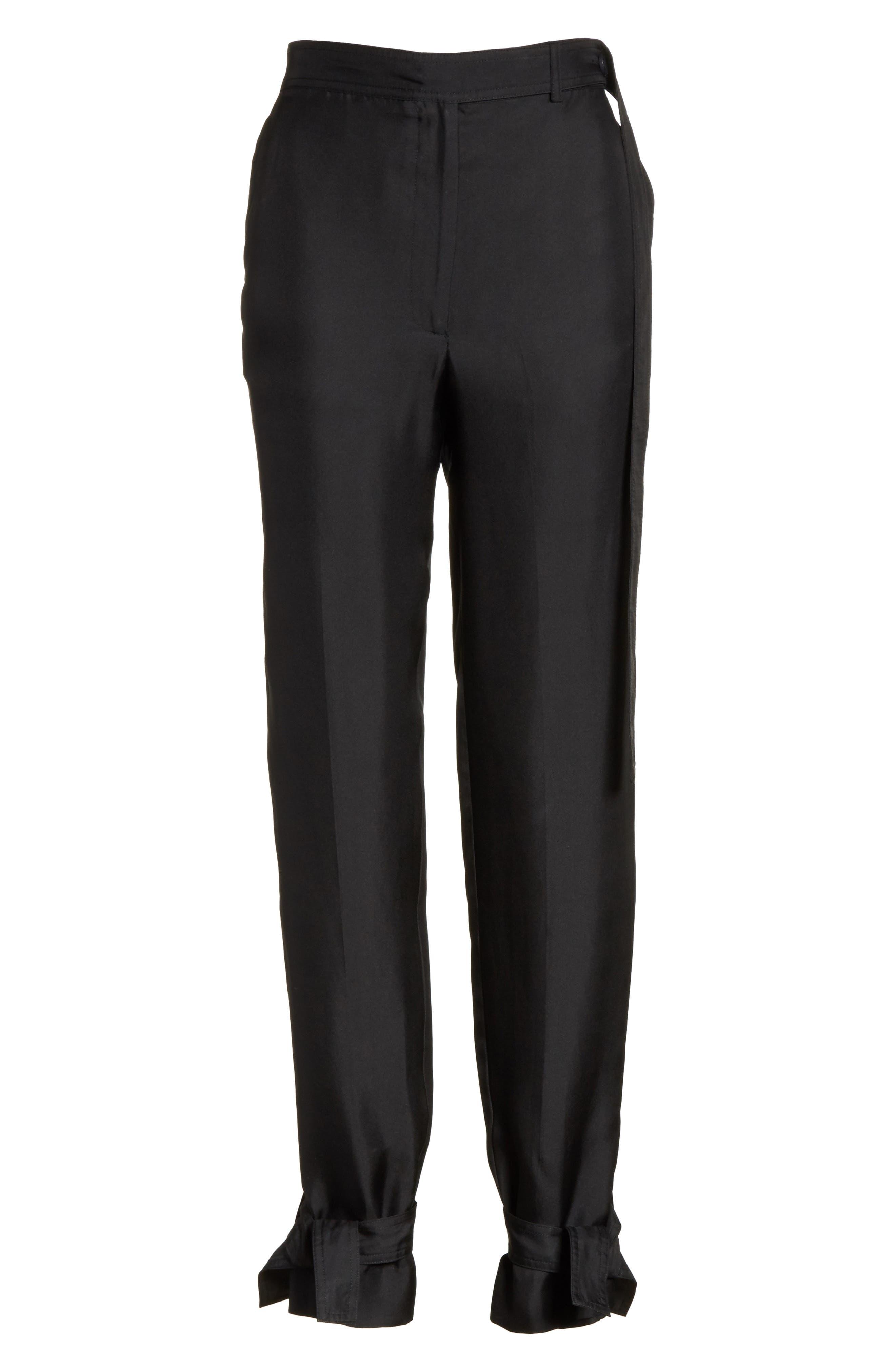 Tie Cuff Silk Pants,                             Alternate thumbnail 6, color,                             001