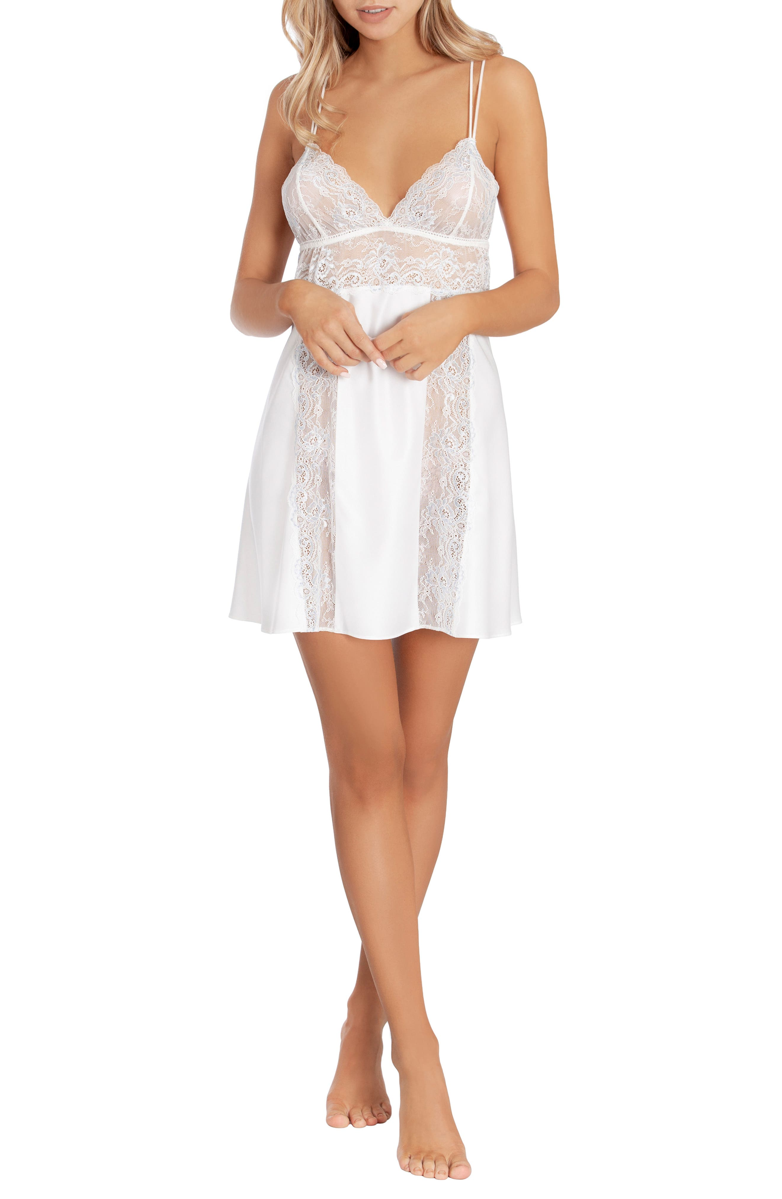 IN BLOOM BY JONQUIL,                             Lace & Satin Chemise,                             Alternate thumbnail 6, color,                             OFF-WHITE