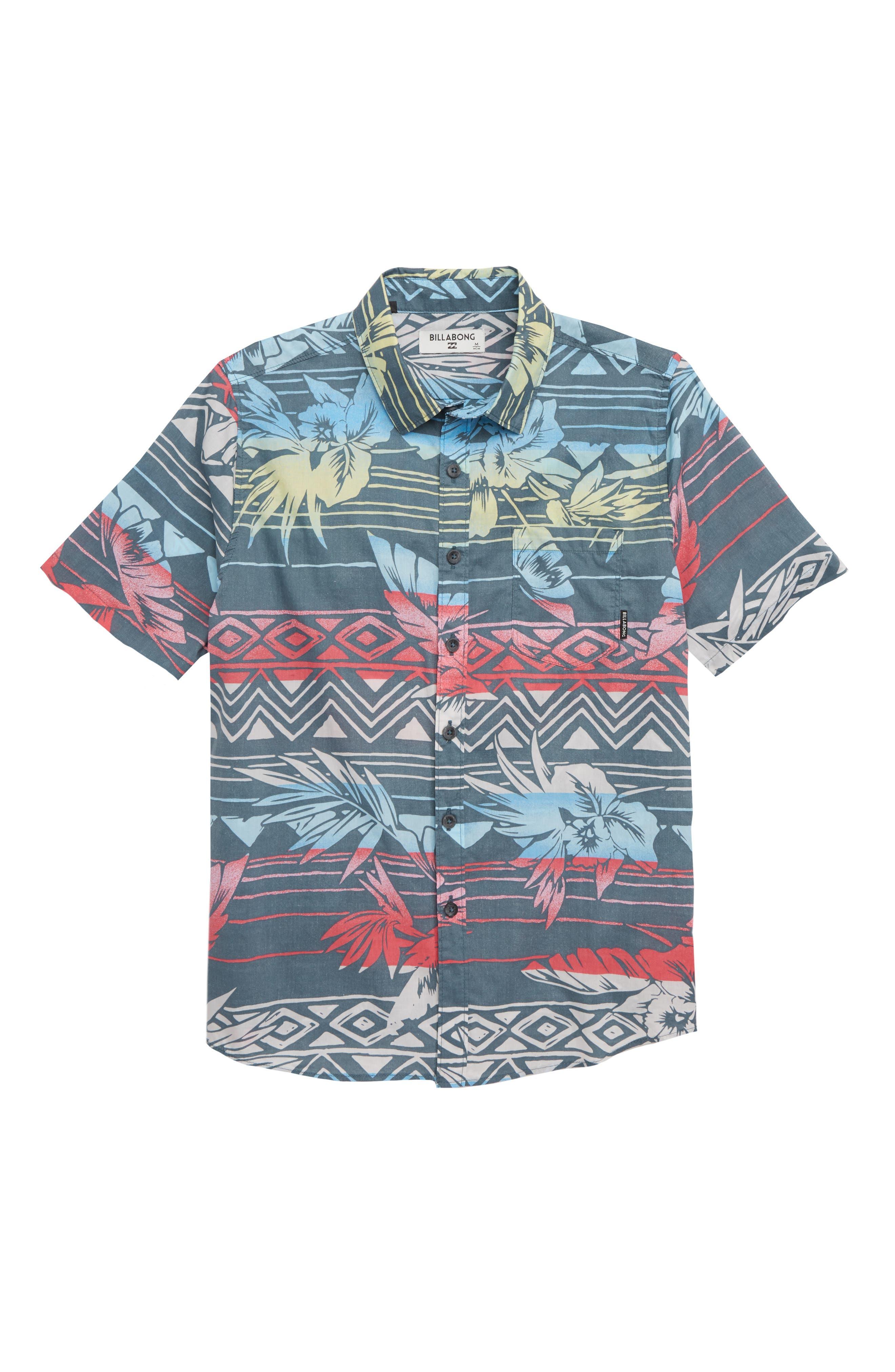 Sundays Floral Camp Shirt,                         Main,                         color, CHARCOAL