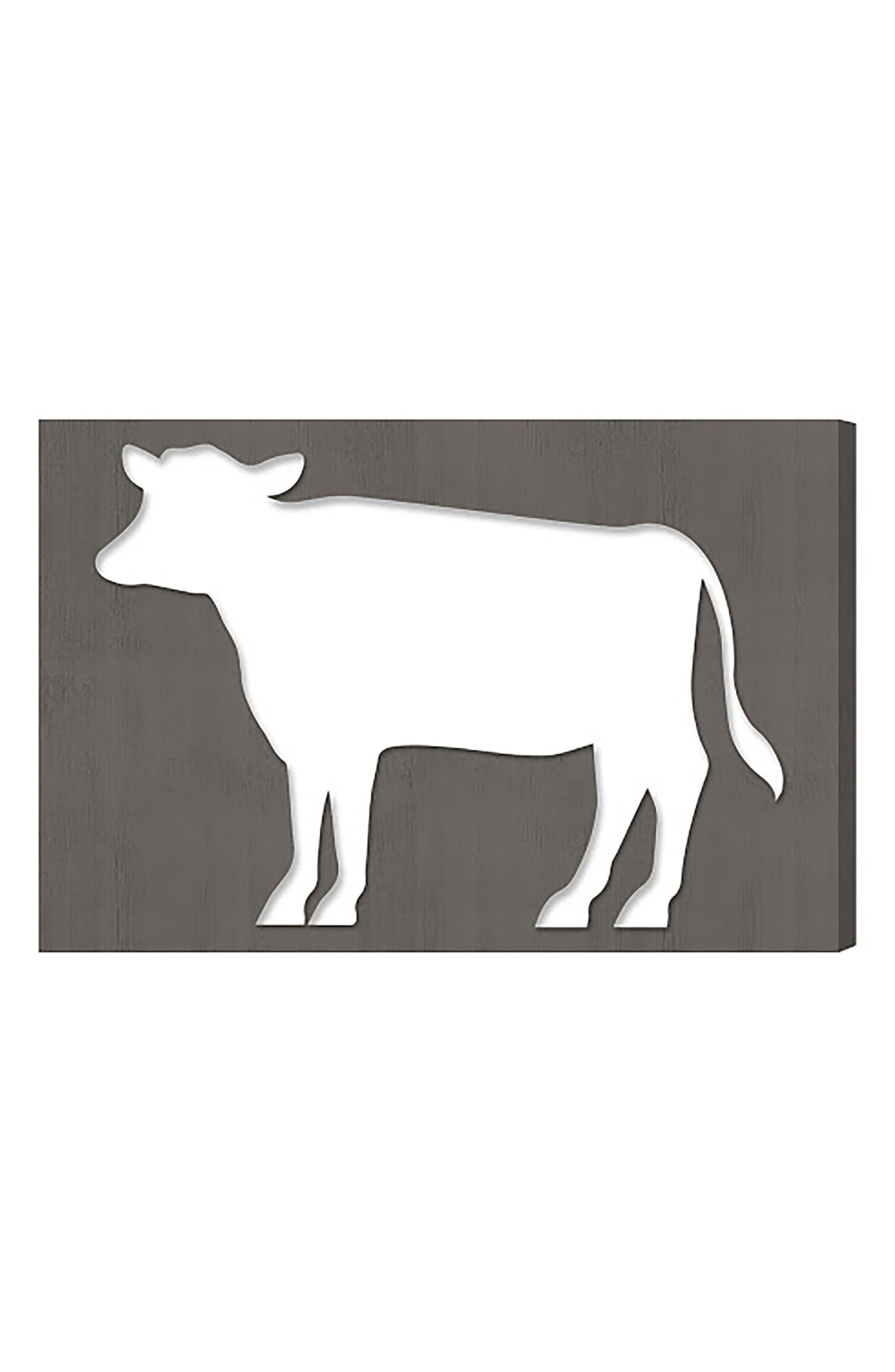 Cow Canvas Wall Art,                             Main thumbnail 1, color,                             GREY