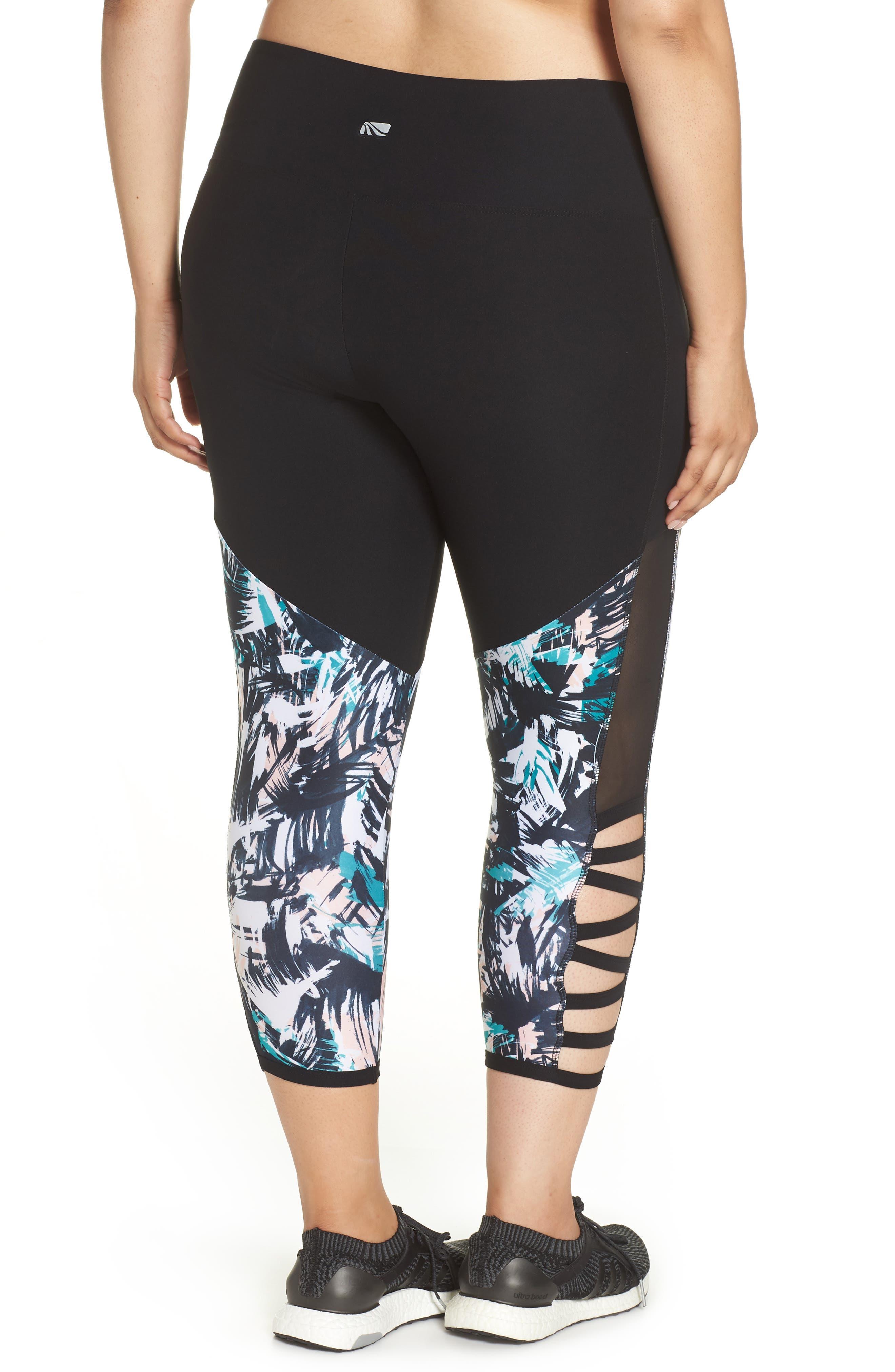 Kendall Invigorate Capri Leggings,                             Alternate thumbnail 2, color,                             BLACK/ BRUSHED PALMS
