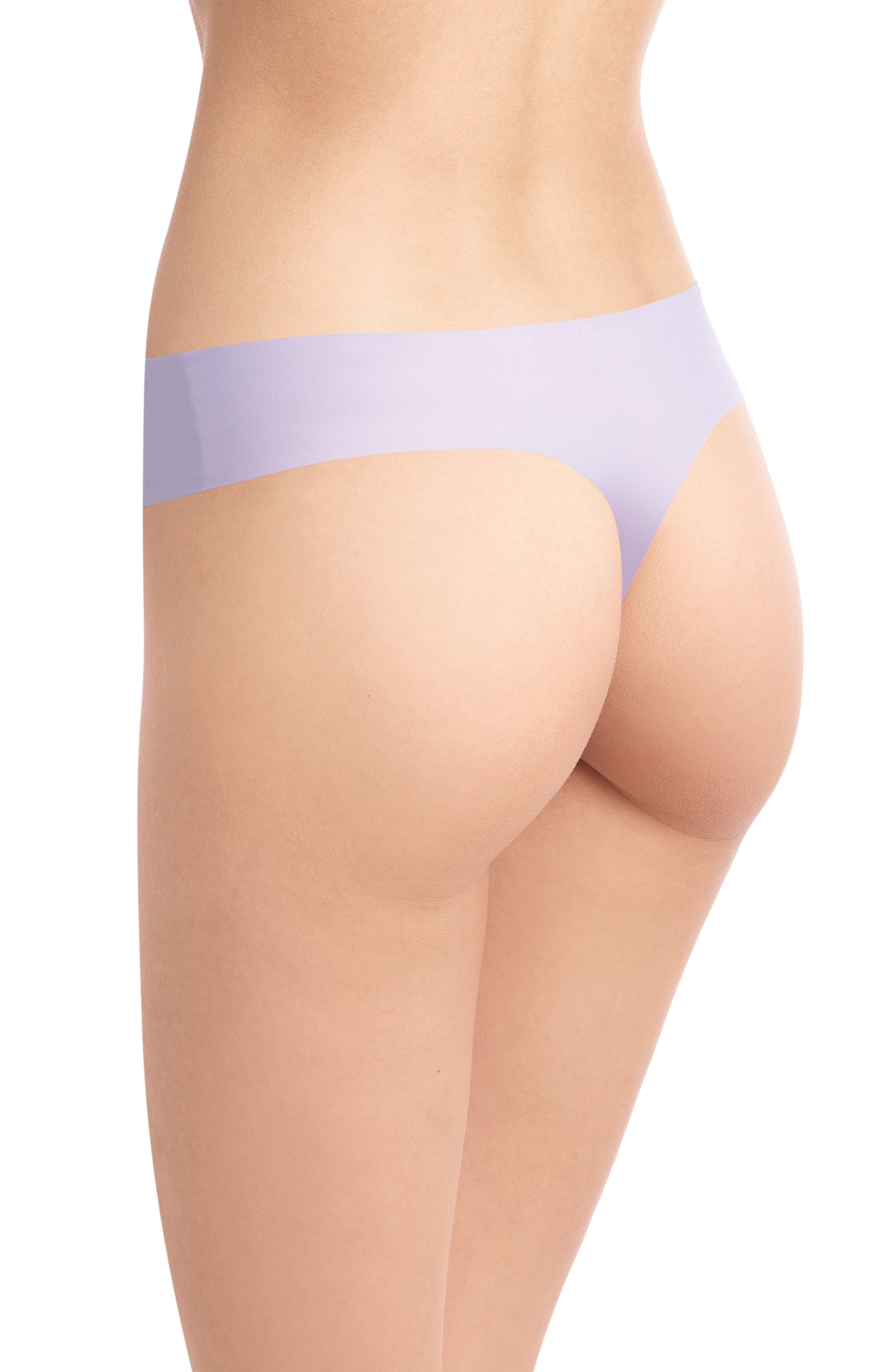 Perfect Stretch Lace Thong,                             Alternate thumbnail 2, color,                             HEATHER