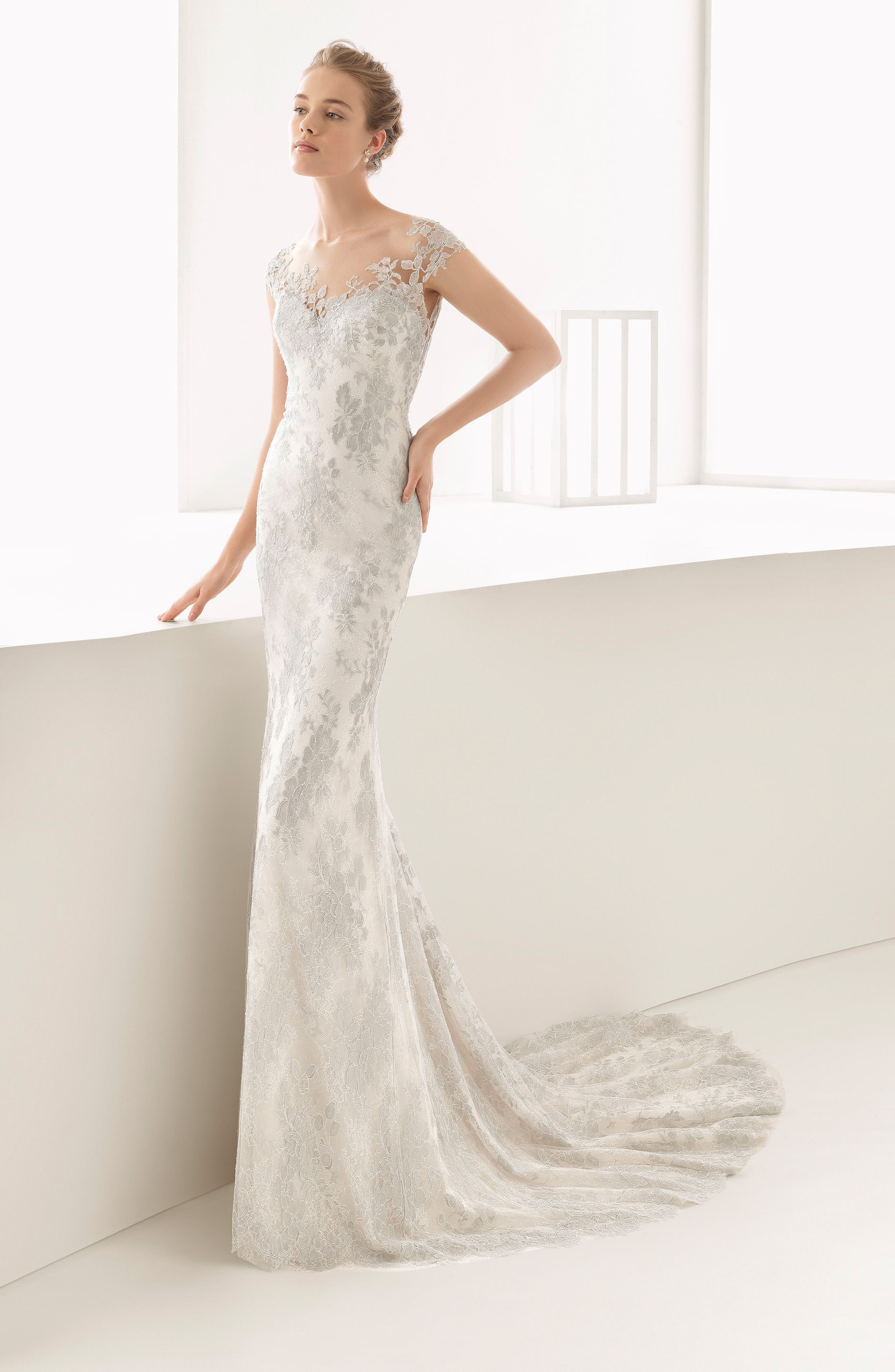 Naia Silver Chantilly Lace Mermaid Gown,                             Alternate thumbnail 4, color,                             250