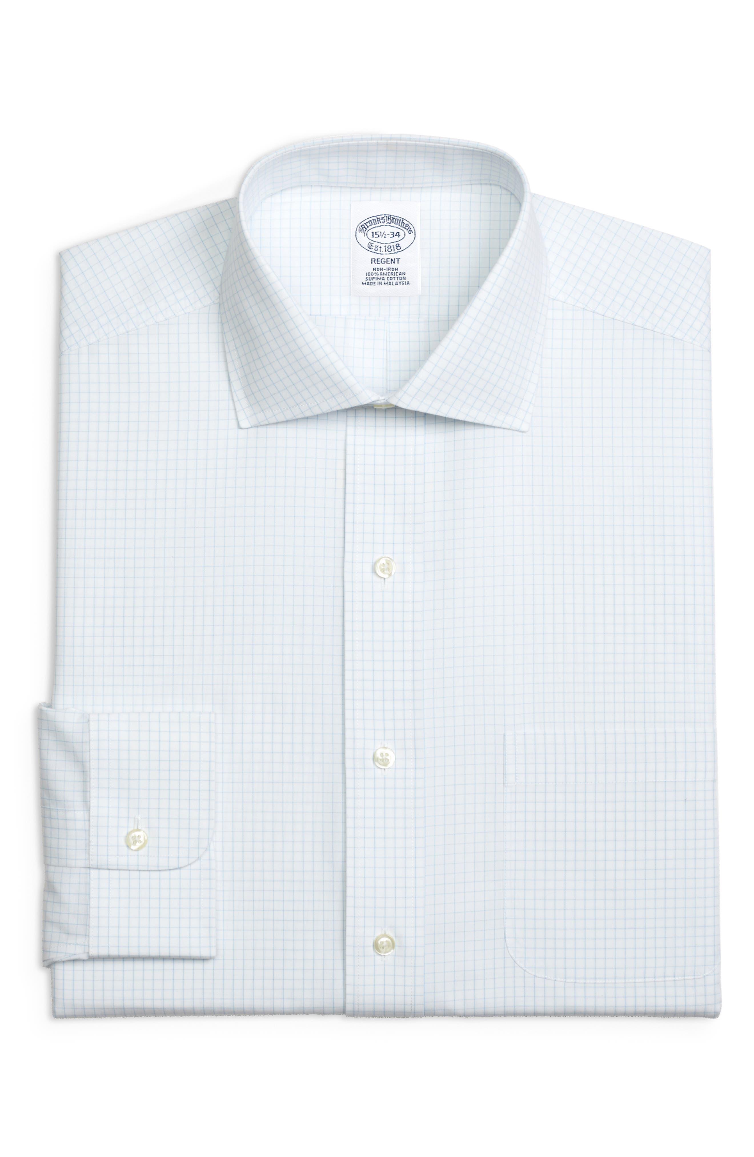 Regular Fit Check Dress Shirt,                         Main,                         color, LIGHT/ PASTEL BLUE
