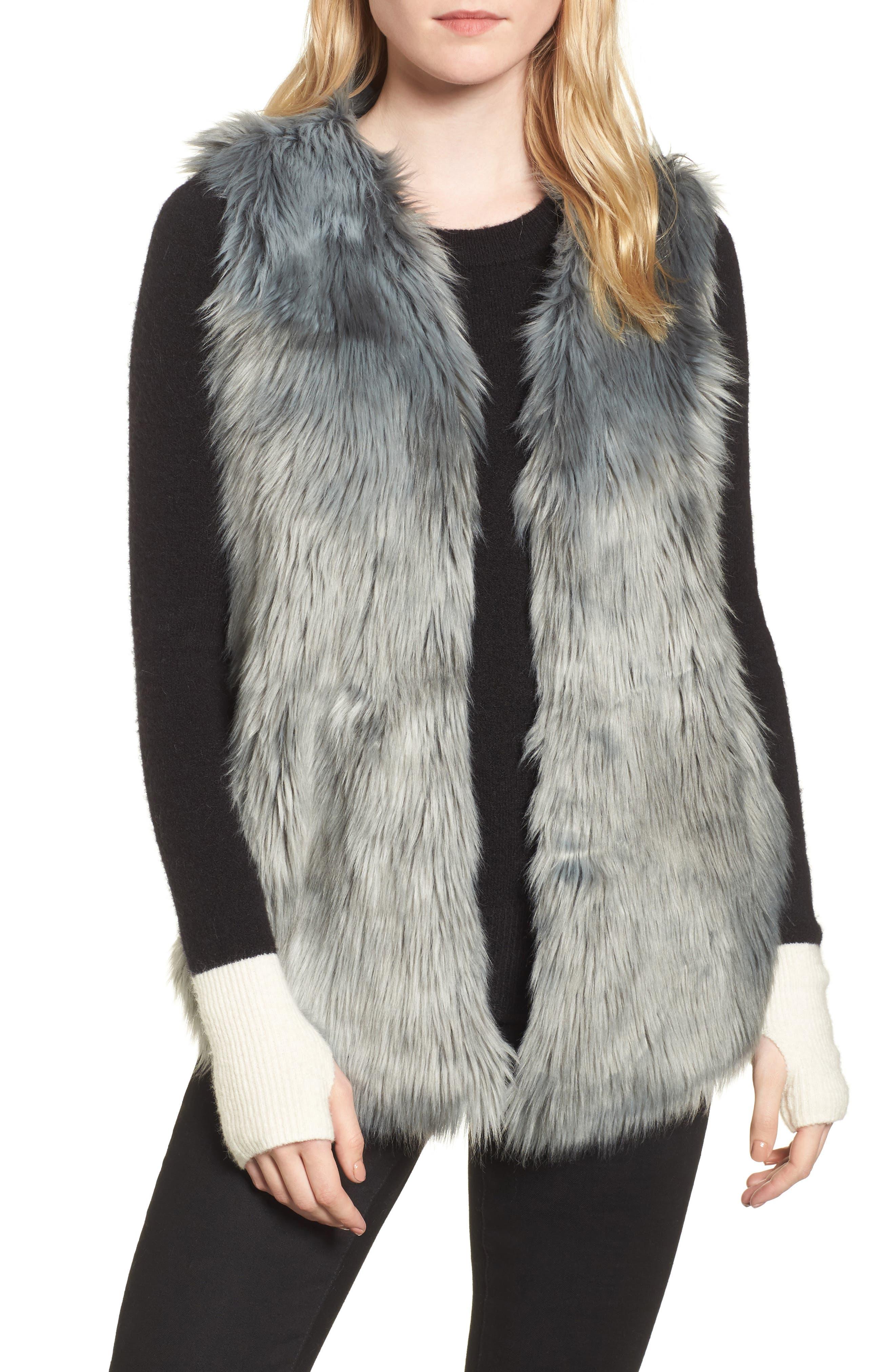 Faux Fur Vest,                             Main thumbnail 1, color,                             425