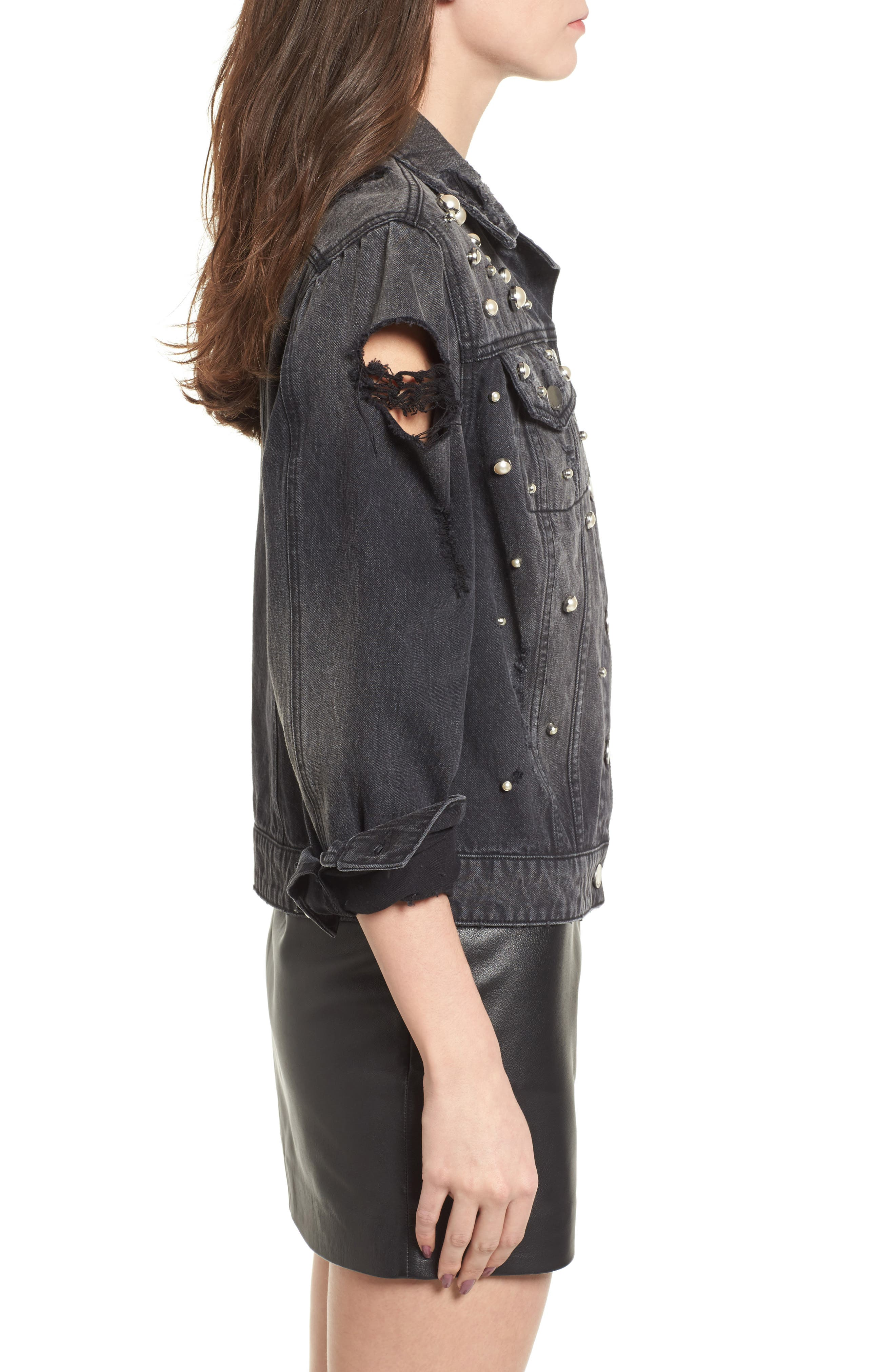 Imitation Pearl Detail Boyfriend Denim Jacket,                             Alternate thumbnail 3, color,