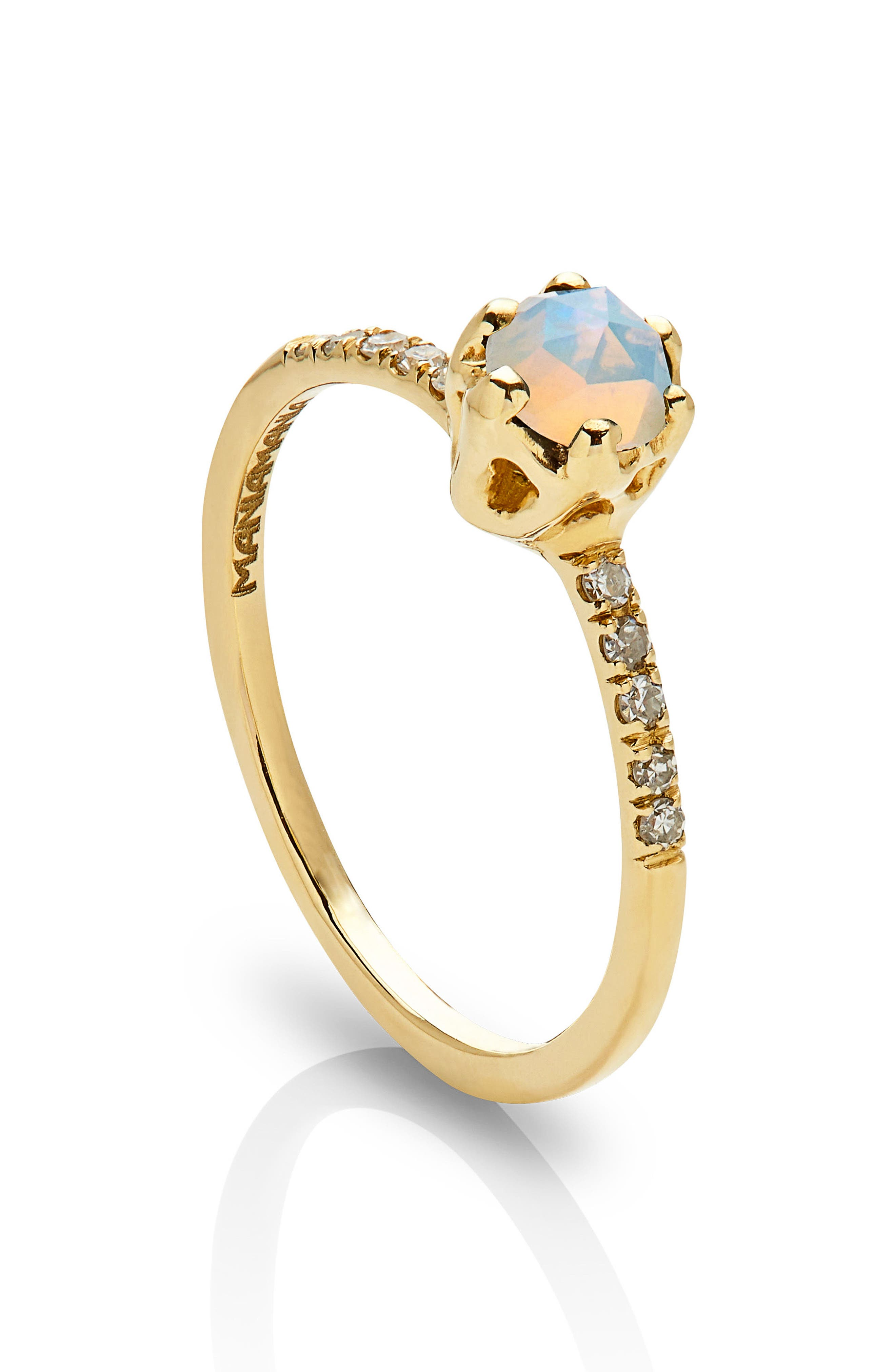 Entity Opal & Diamond Solitaire Ring,                             Alternate thumbnail 2, color,                             YELLOW GOLD/ OPAL