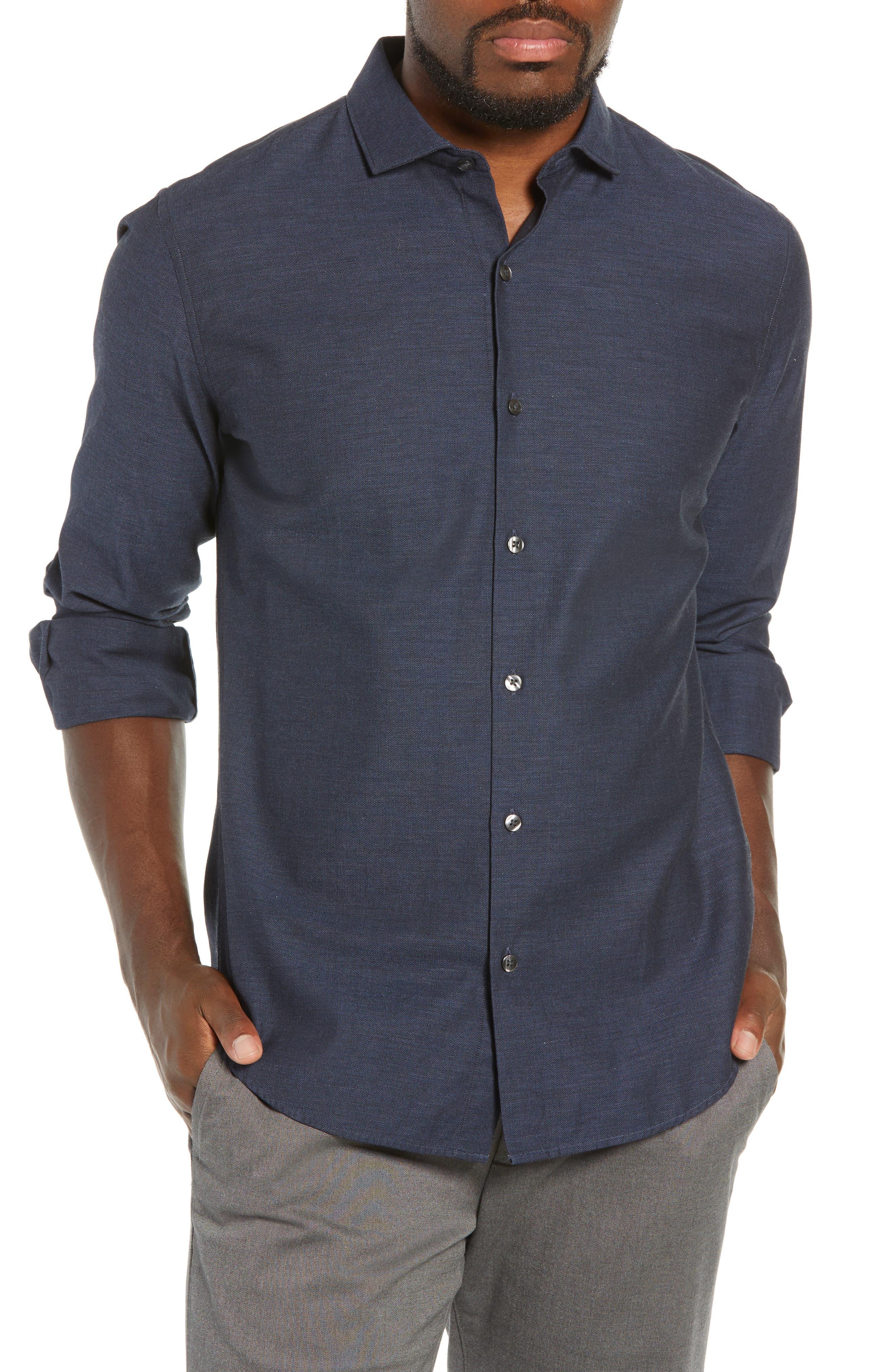 Unbutton Down Slim Fit Sport Shirt,                         Main,                         color, 400