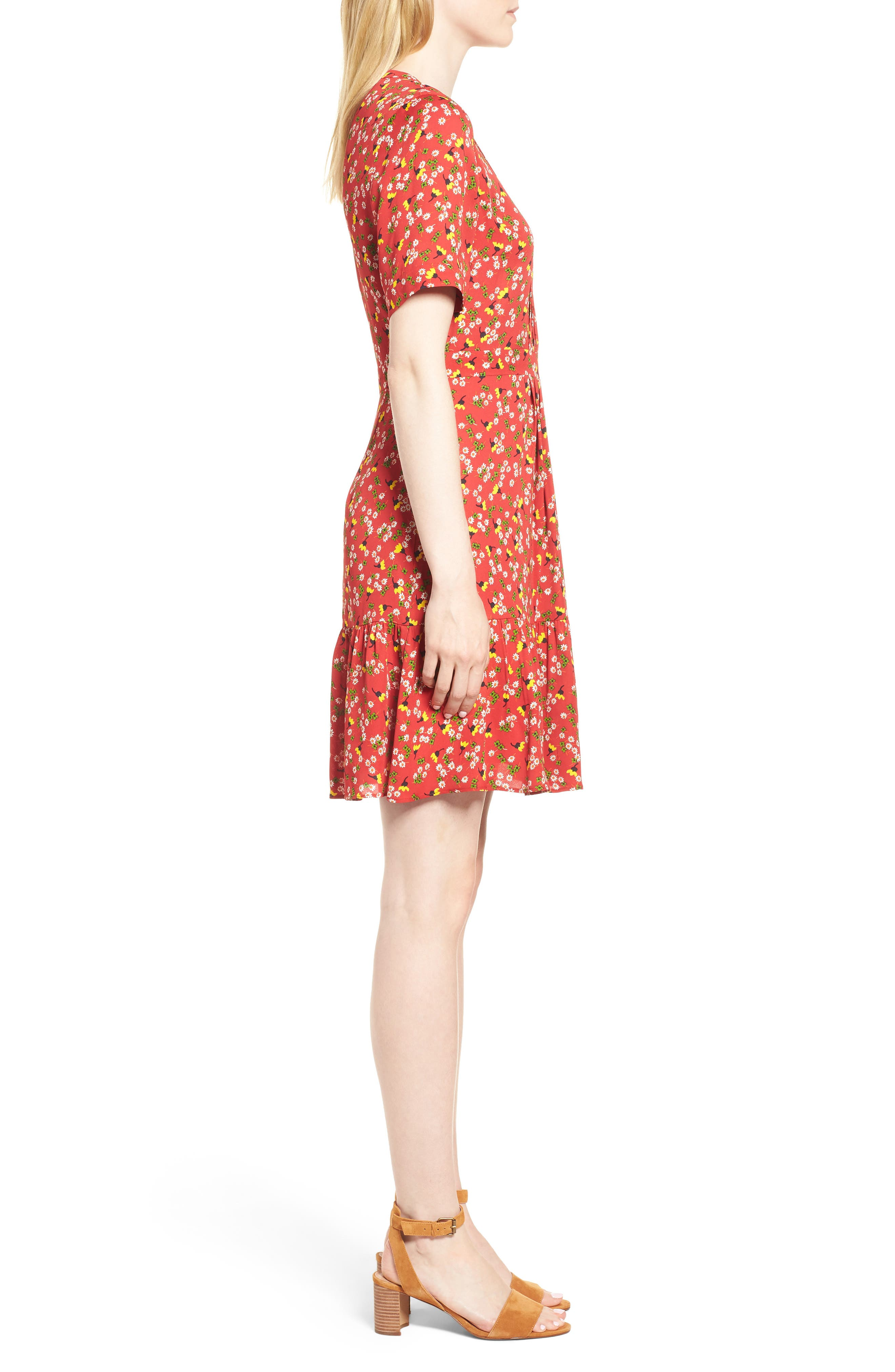 Peony Print Pleat Dress,                             Alternate thumbnail 3, color,                             RED/ MULTI