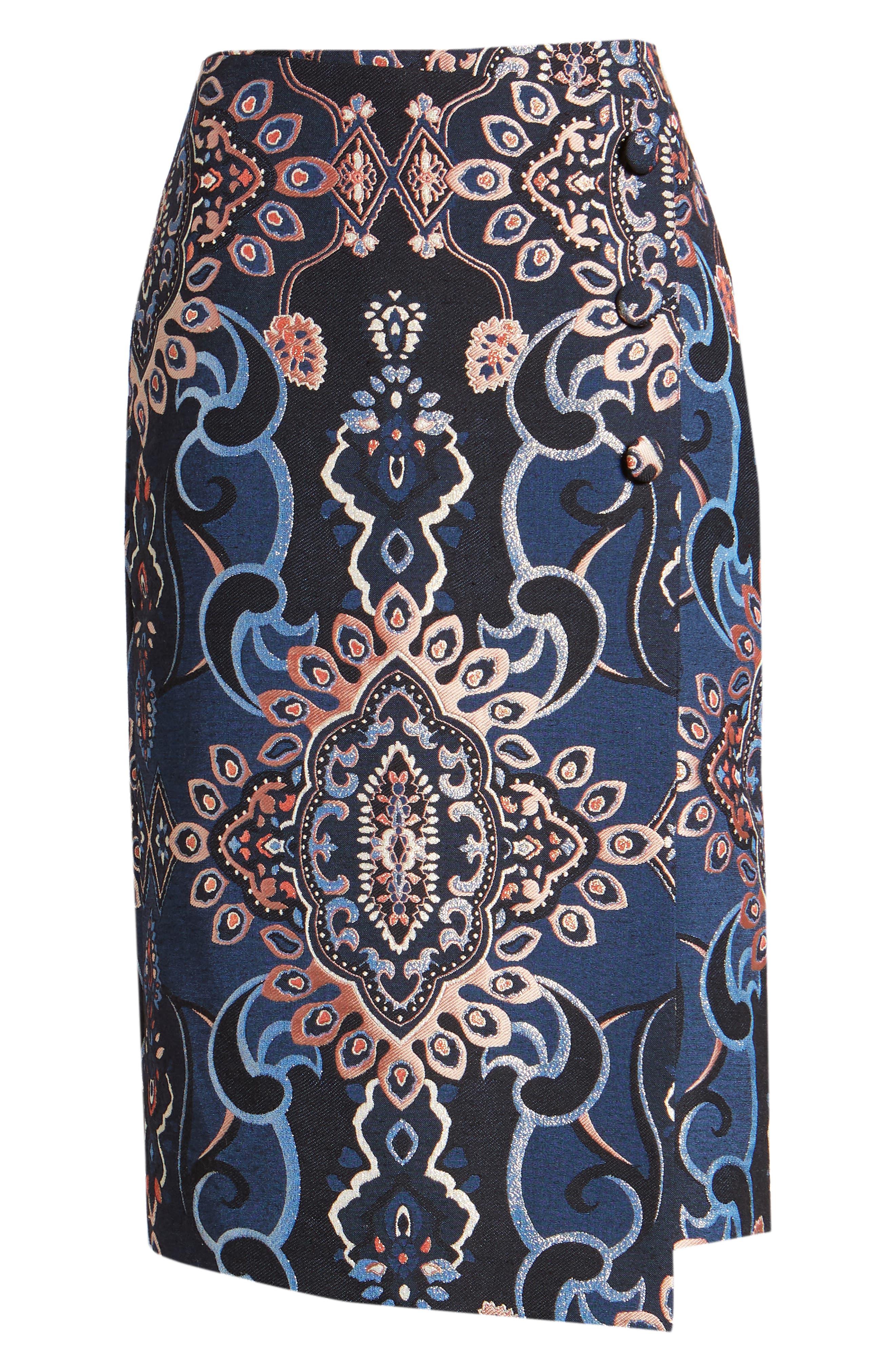 Button Detail Skirt,                             Alternate thumbnail 6, color,                             NAVY MULTI BROCADE