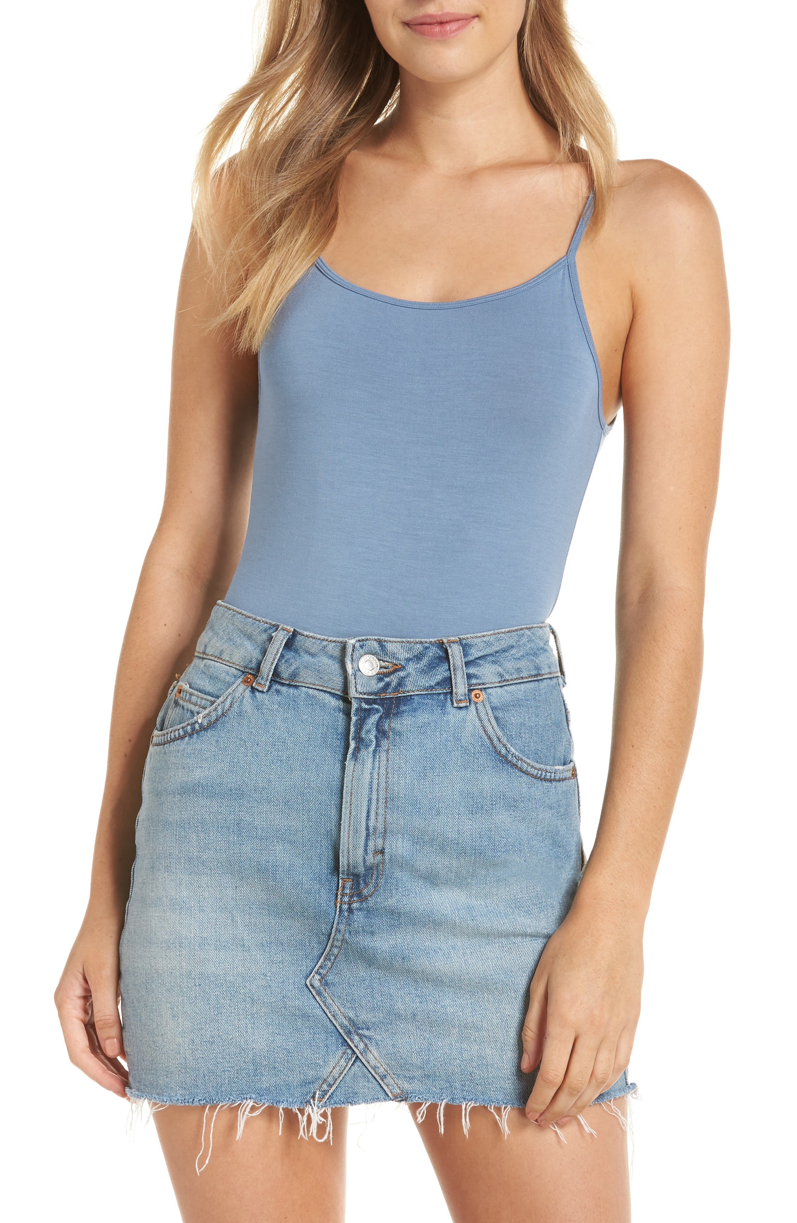 Scoop Back Thong Bodysuit,                             Alternate thumbnail 2, color,                             CARBON BLUE