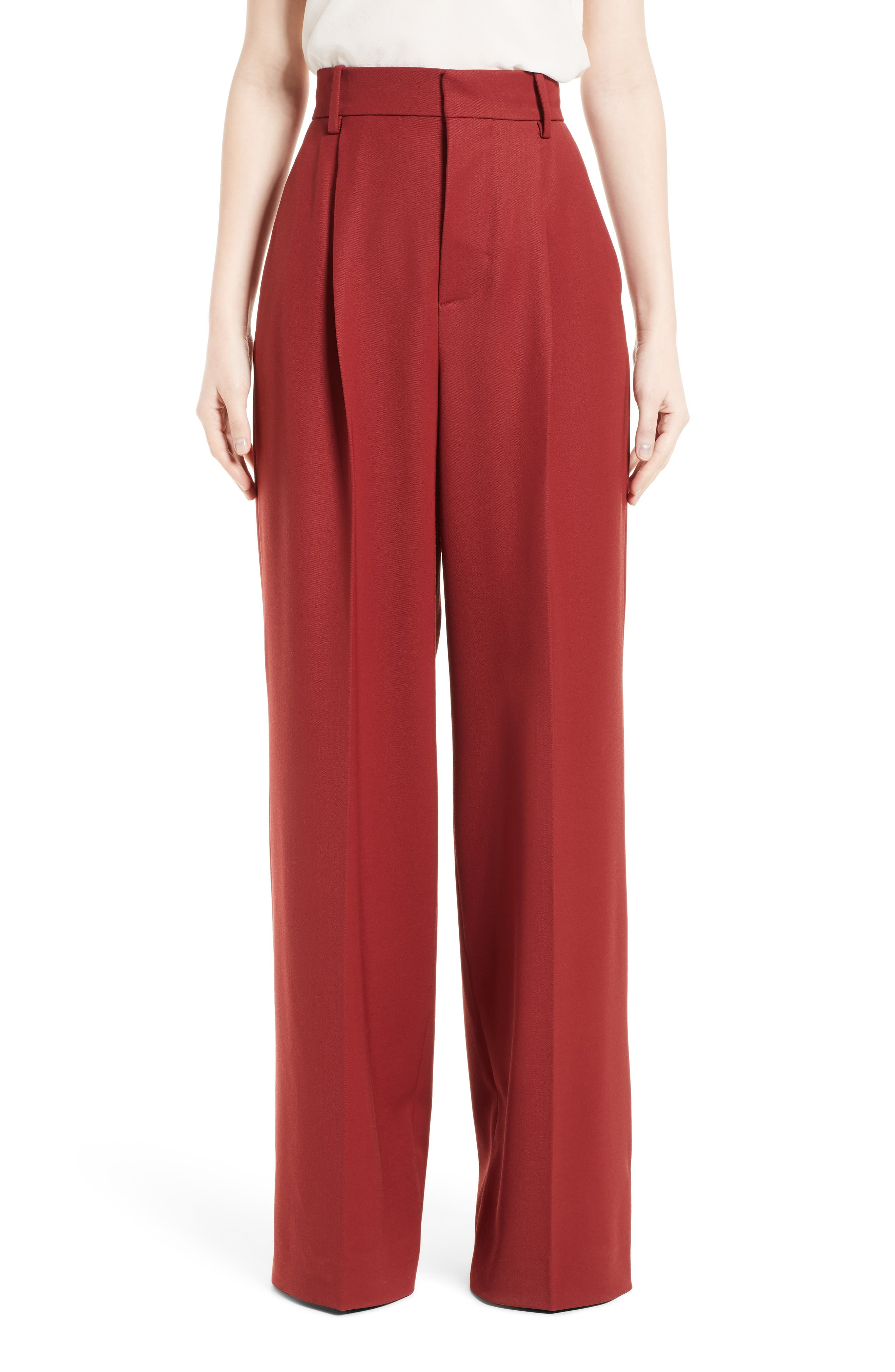 Stretch Wool Wide Leg Pants,                             Main thumbnail 1, color,