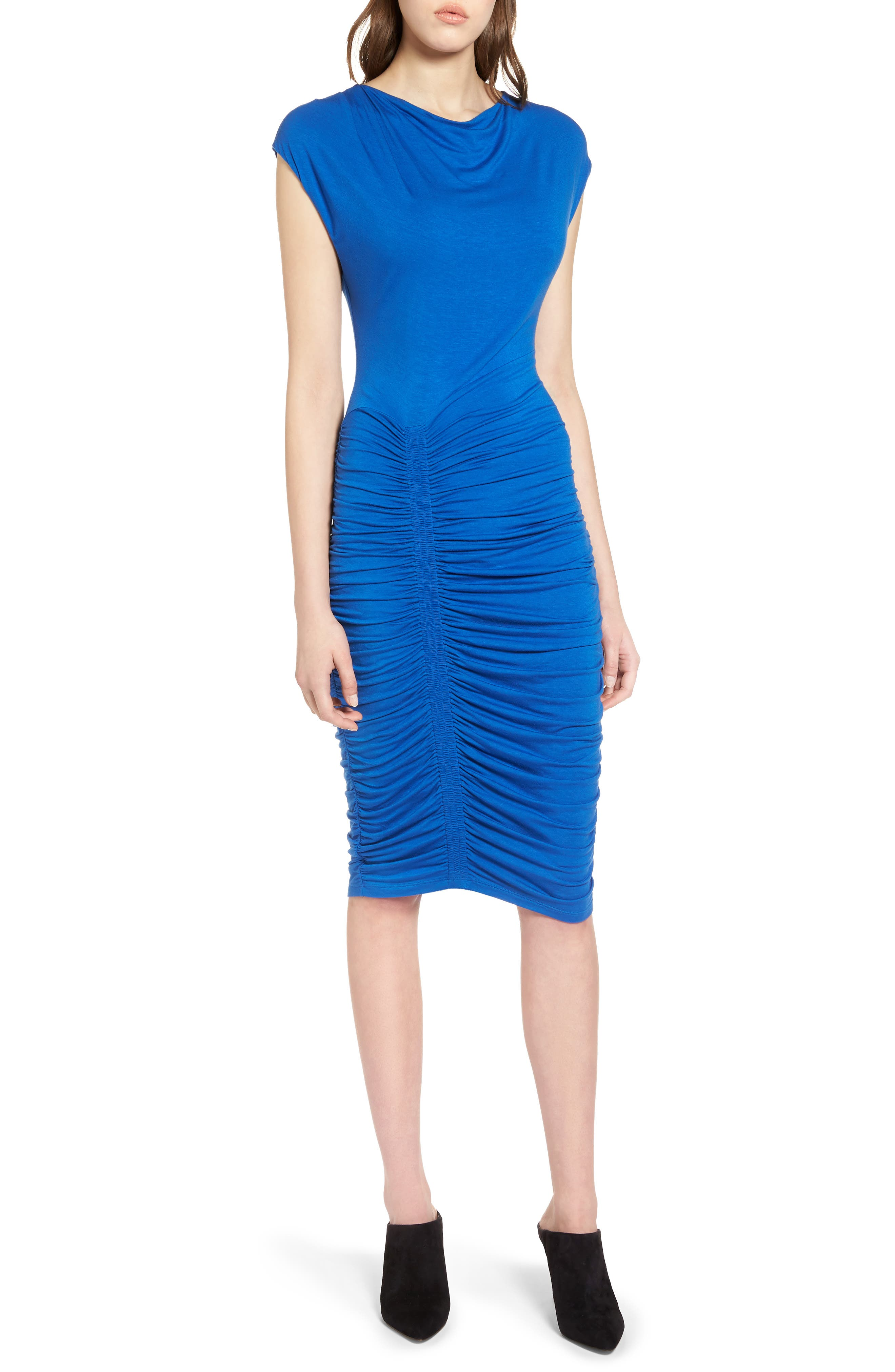 Ruched Detail Sheath Dress,                             Alternate thumbnail 14, color,
