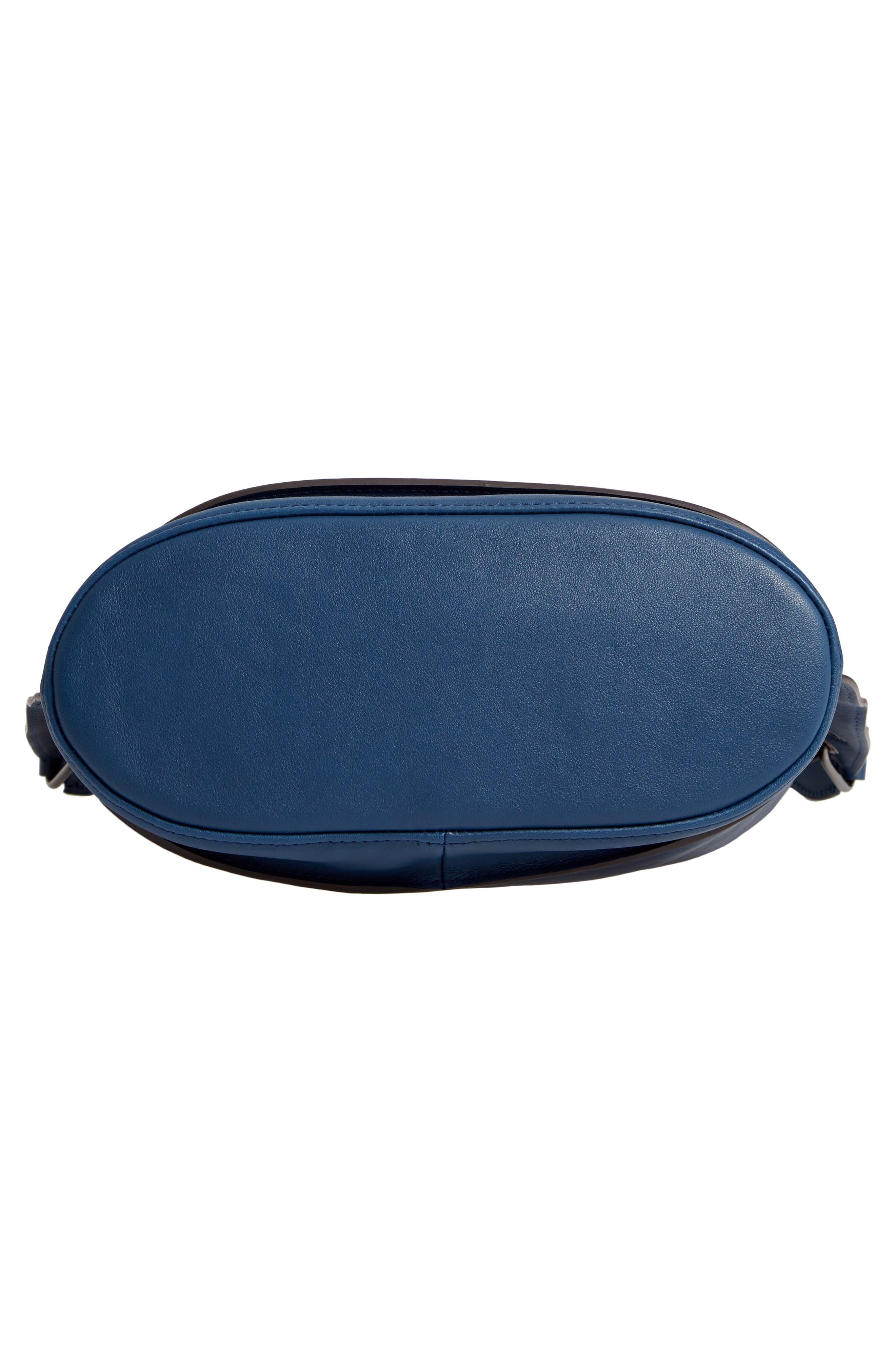 3D Leather Bucket Bag,                             Alternate thumbnail 6, color,                             PILOT BLUE