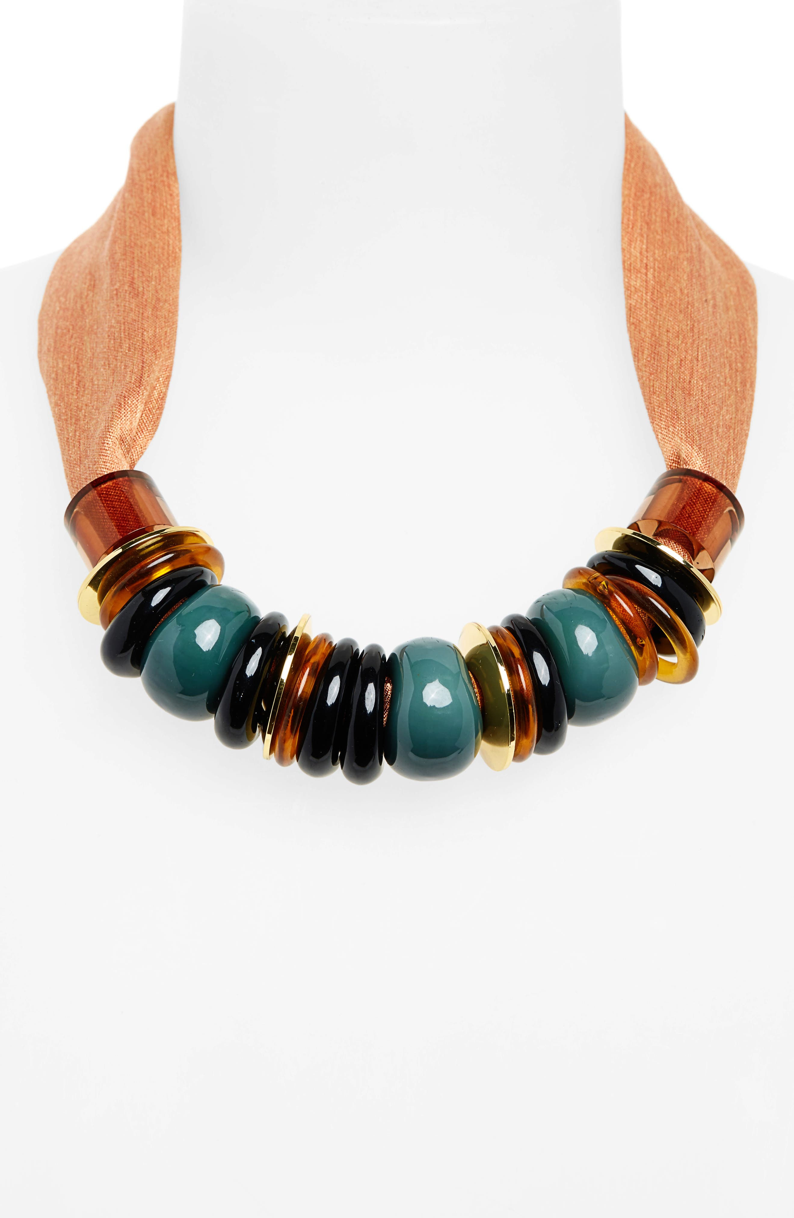 Out of Africa Beaded Ribbon Necklace,                             Alternate thumbnail 2, color,