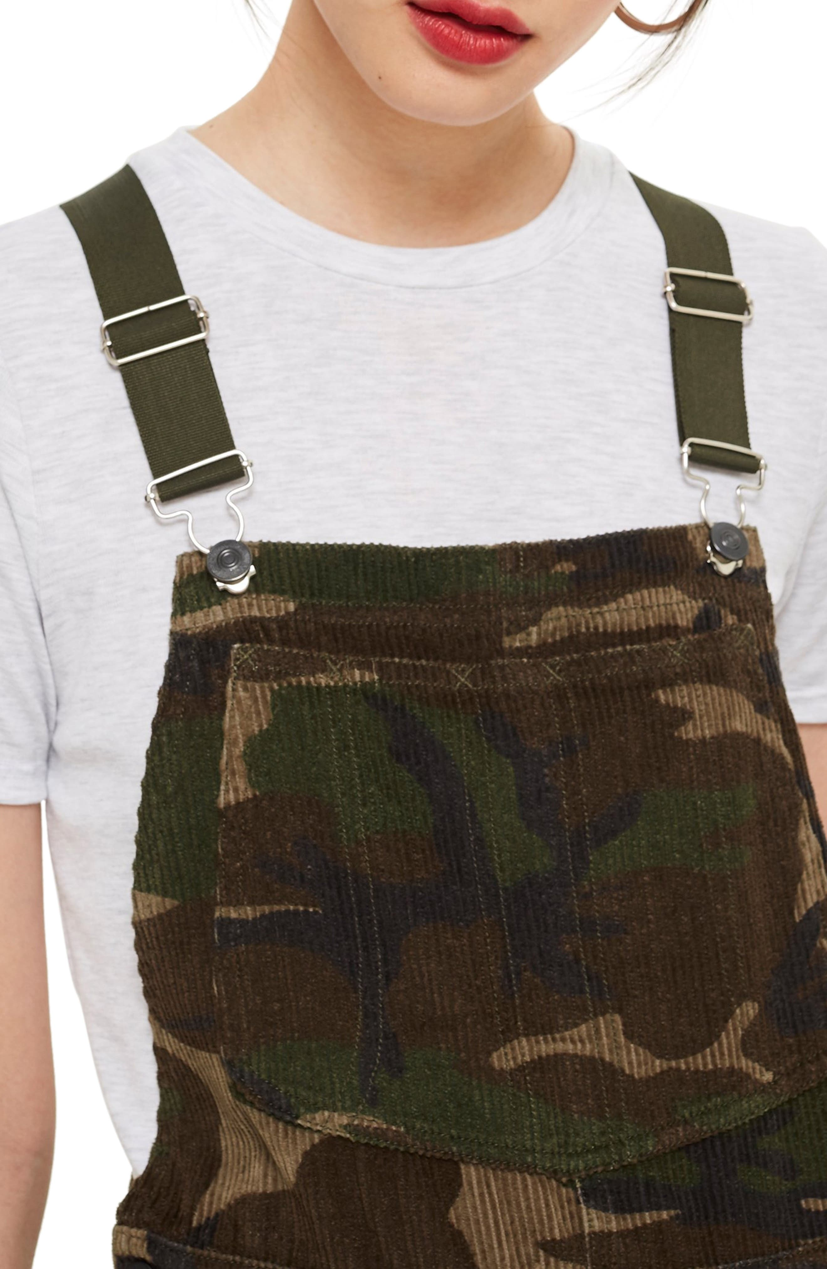 Camouflage Corduroy Overalls,                             Alternate thumbnail 3, color,                             OLIVE MULTI