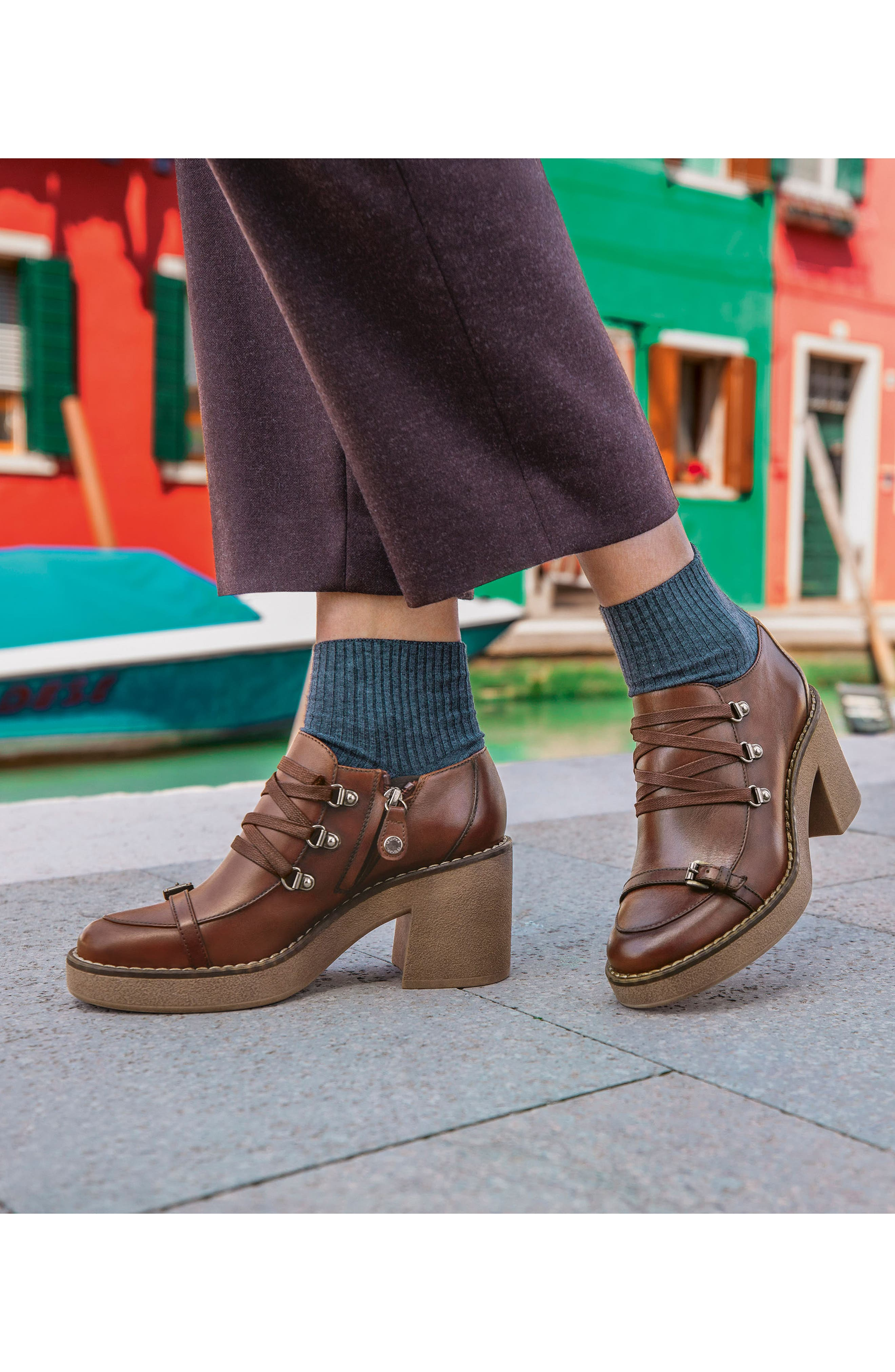 Adrya Bootie,                             Alternate thumbnail 8, color,                             BROWN LEATHER