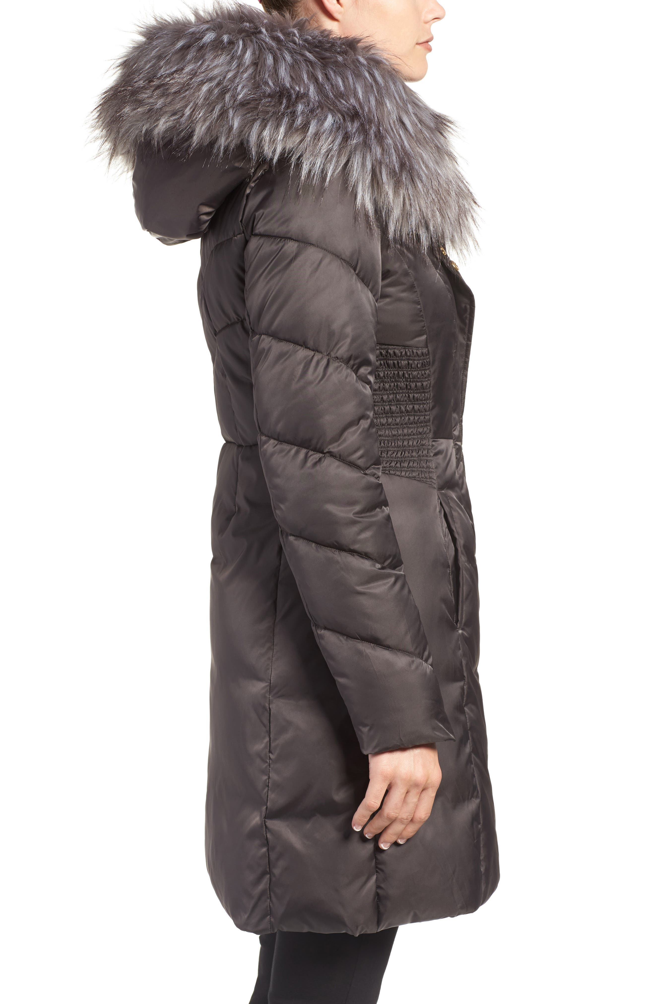 Water Repellent Quilted Puffer Coat with Faux Fur Trim,                             Alternate thumbnail 3, color,                             033