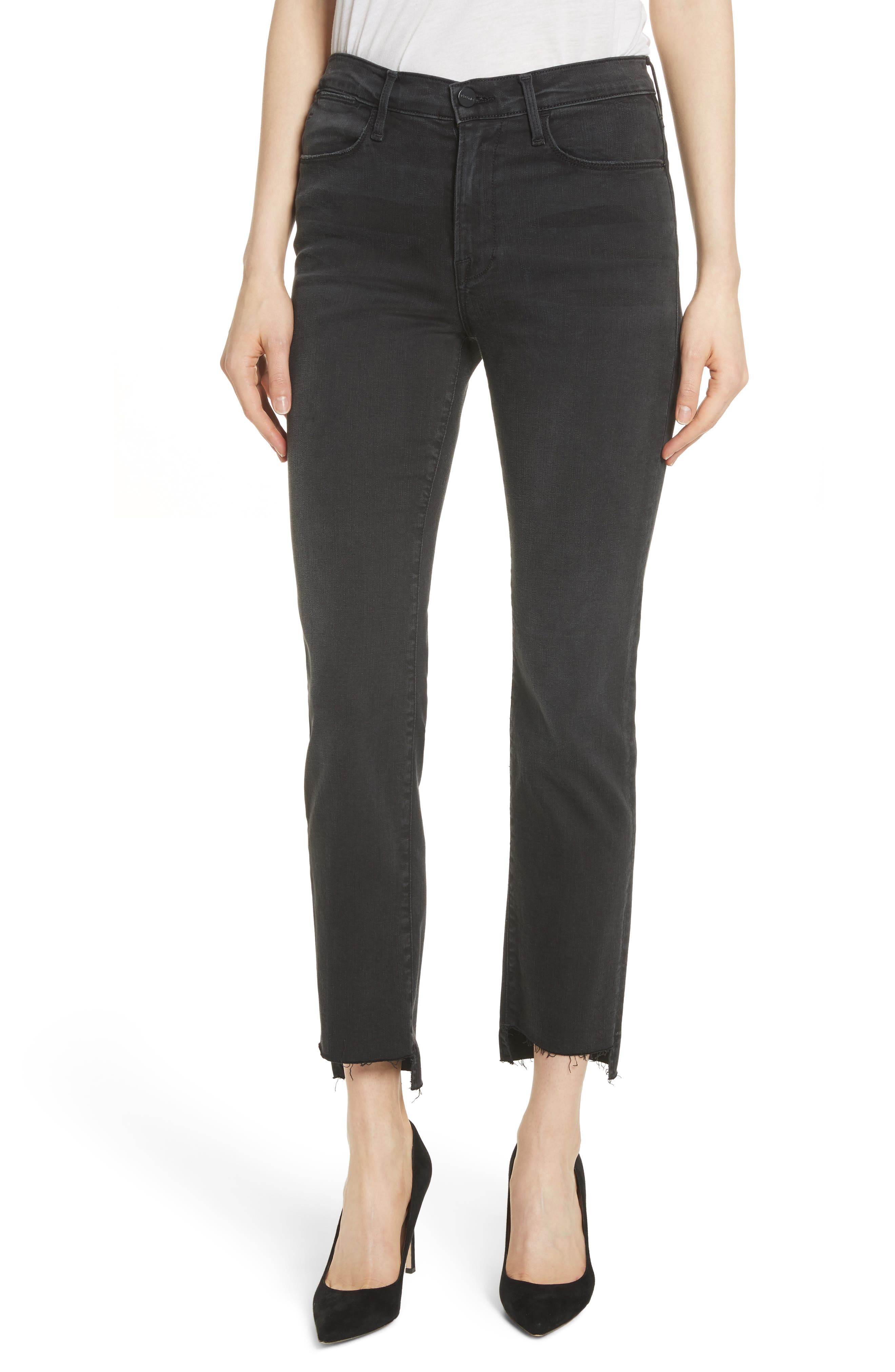 Le High Raw Stagger Straight Jeans,                             Main thumbnail 1, color,                             001