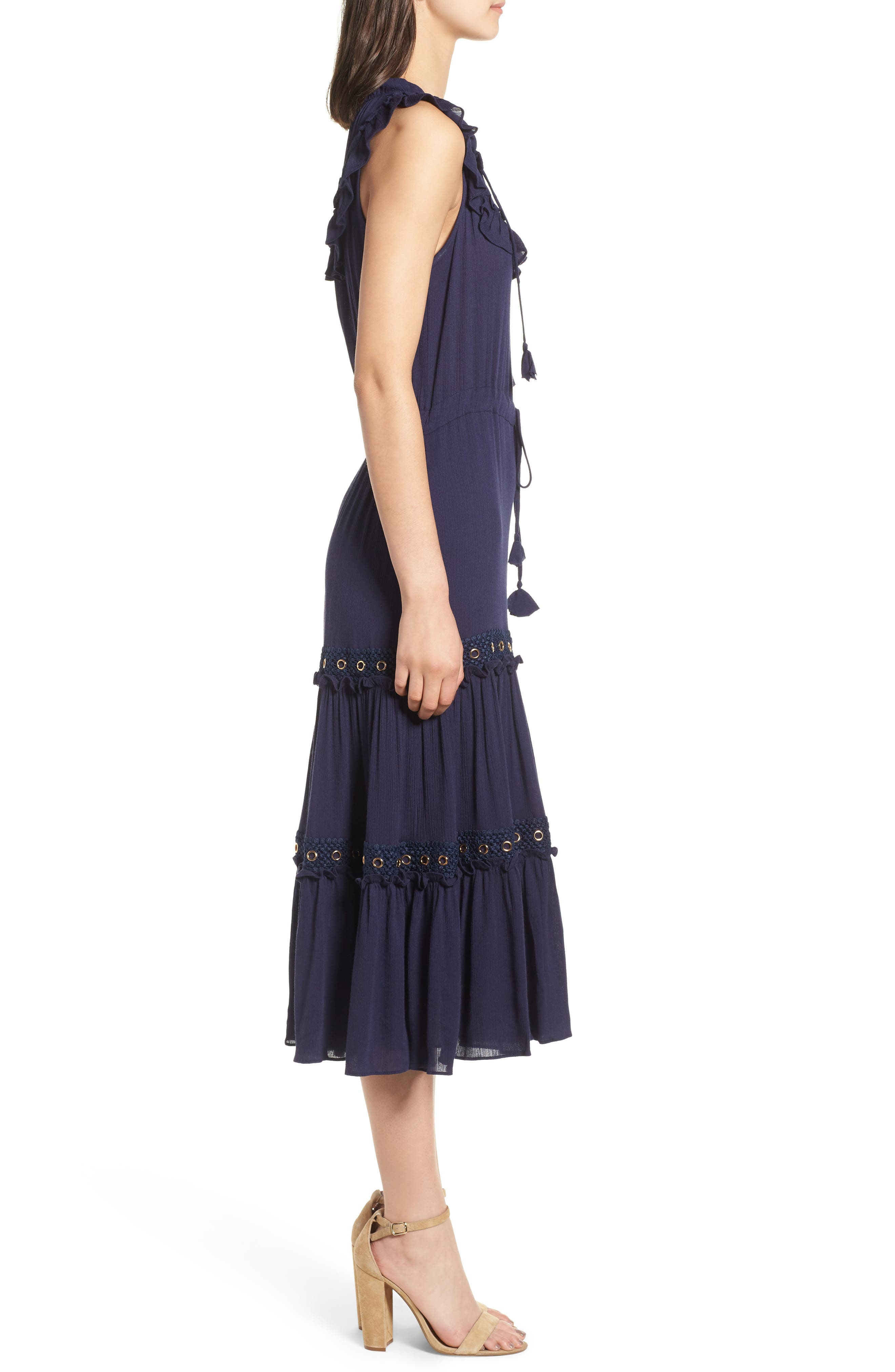 Gabriella Tie Waist Midi Dress,                             Alternate thumbnail 3, color,                             AZURE