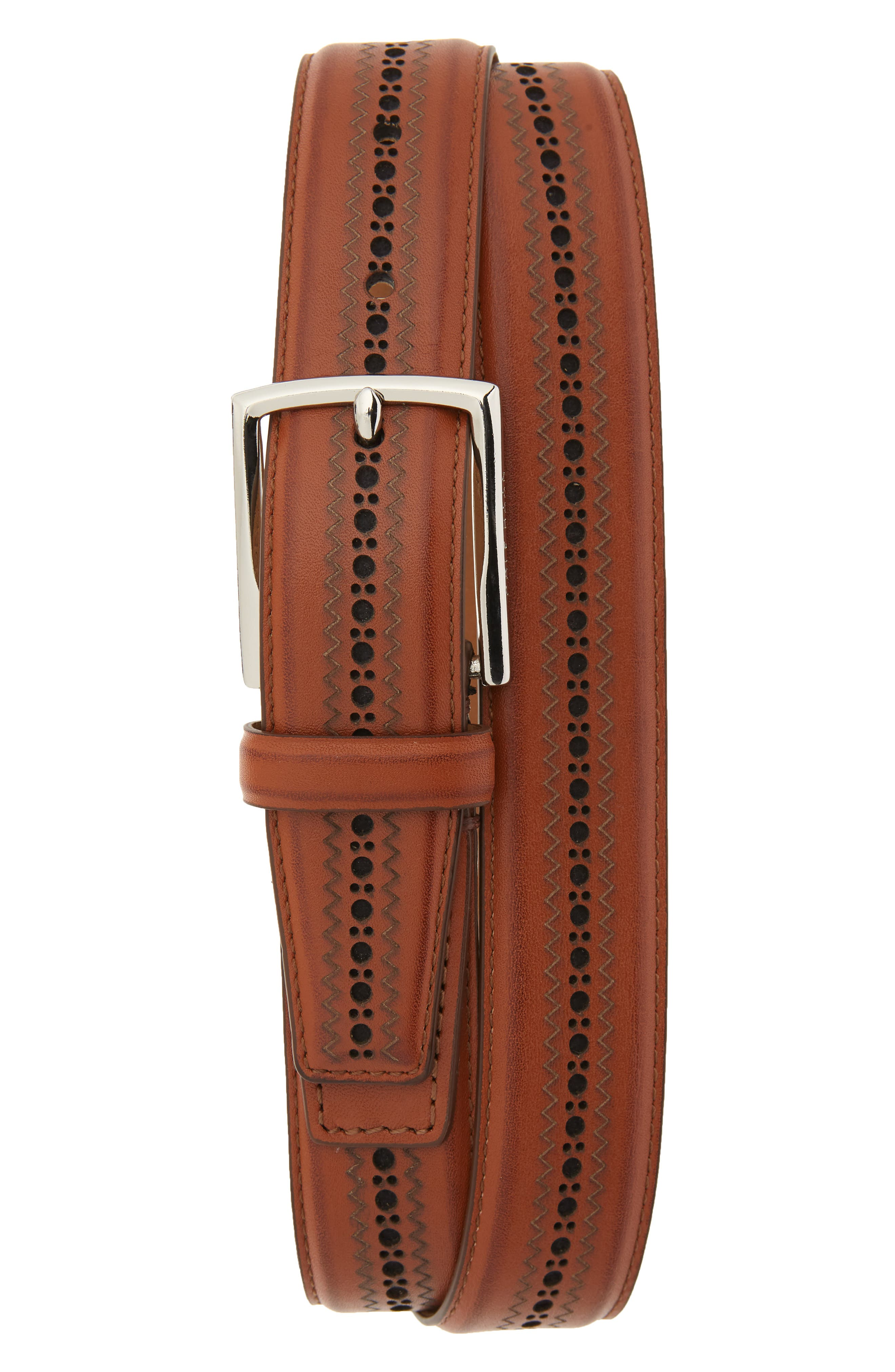 Cole Haan Feather Edge Stitched Belt, British Tan/ Polished Nickel