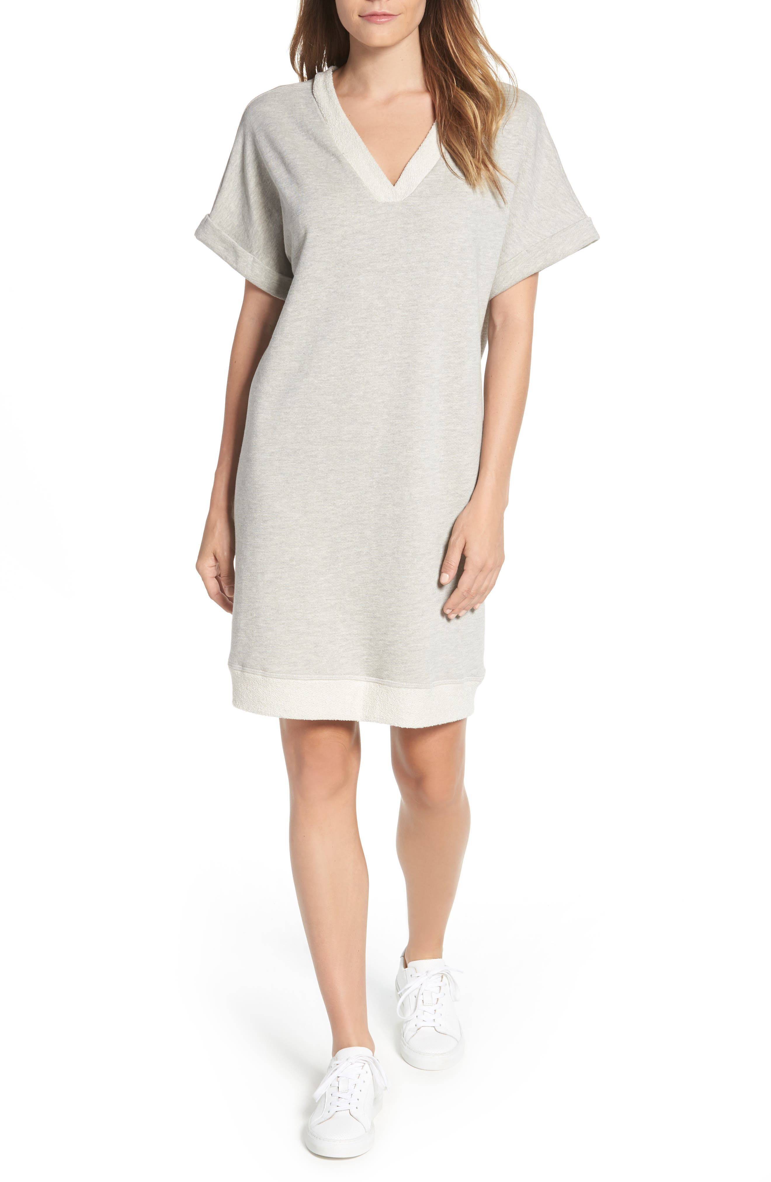 Off-Duty French Terry Dress,                             Main thumbnail 1, color,                             GREY HEATHER