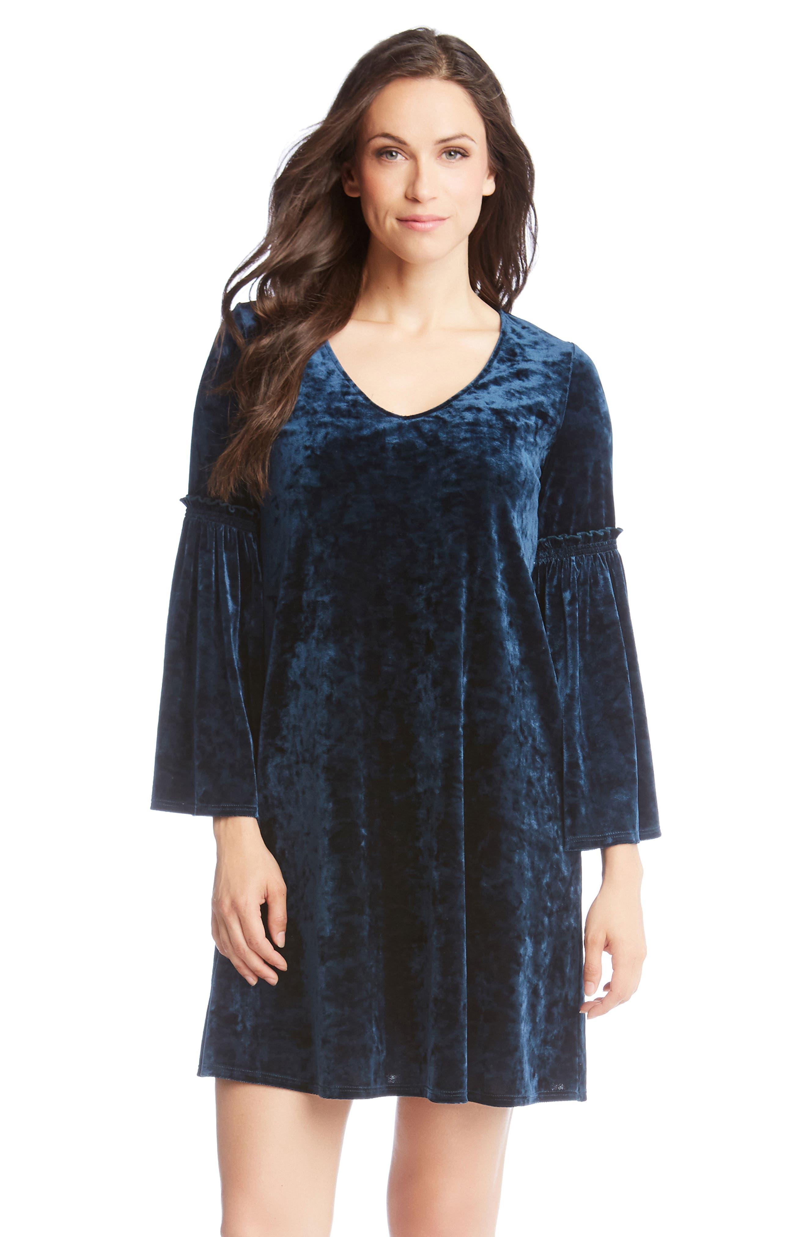 Bell Sleeve Velvet Dress,                             Alternate thumbnail 4, color,                             TEAL