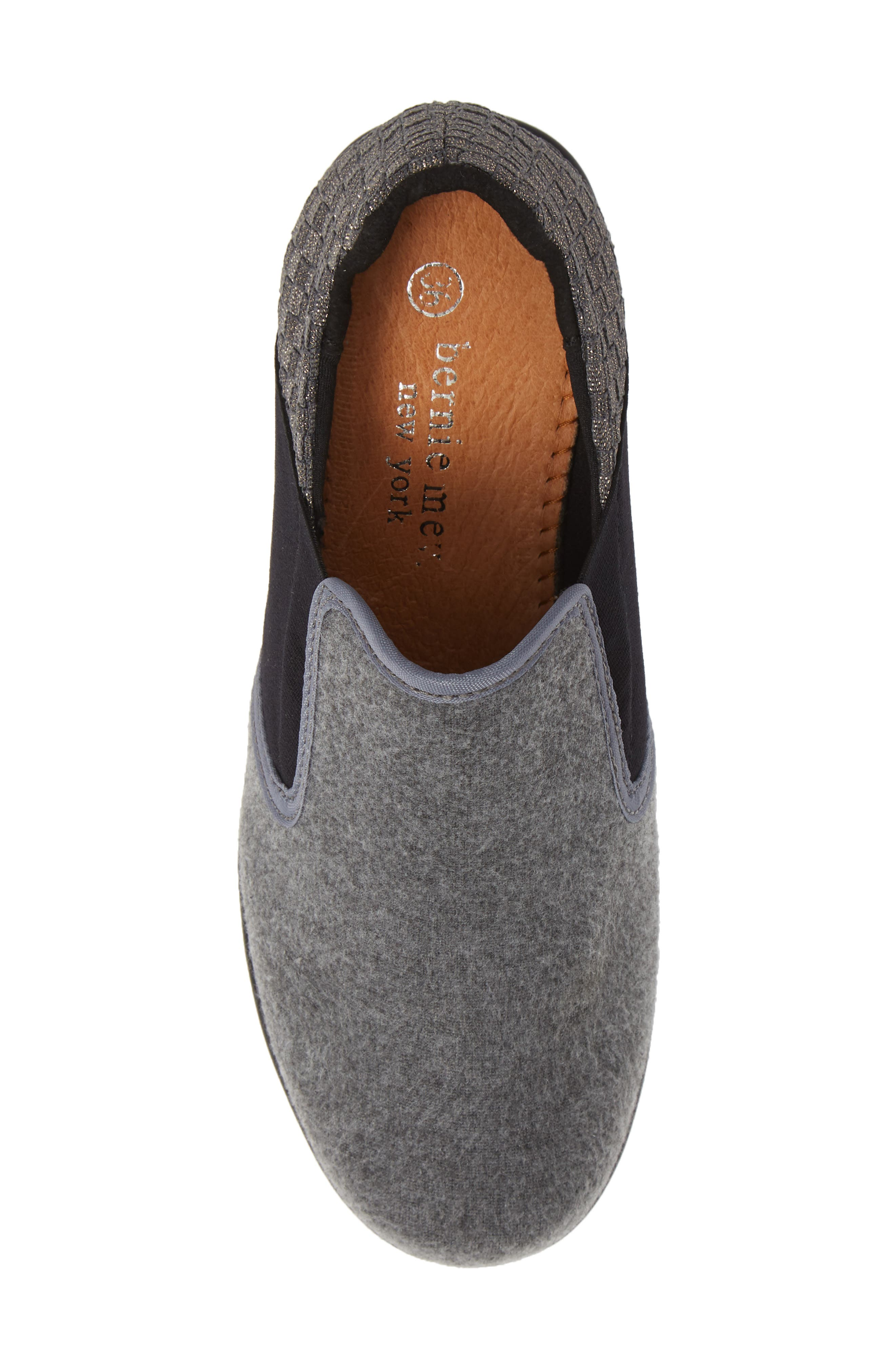 Bari Wedge,                             Alternate thumbnail 5, color,                             GREY SHIMMER LEATHER