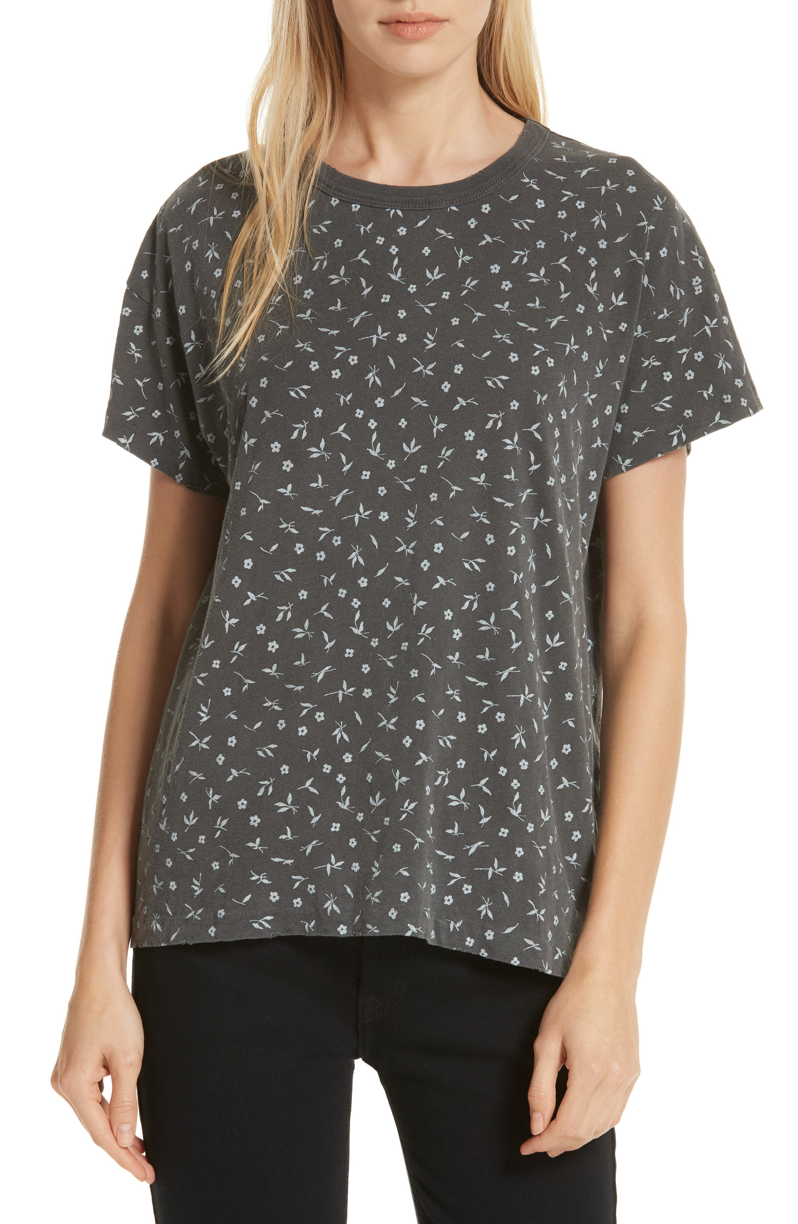 The Boxy Crew Tee,                             Main thumbnail 1, color,                             WASHED BLACK DITZY FLORAL
