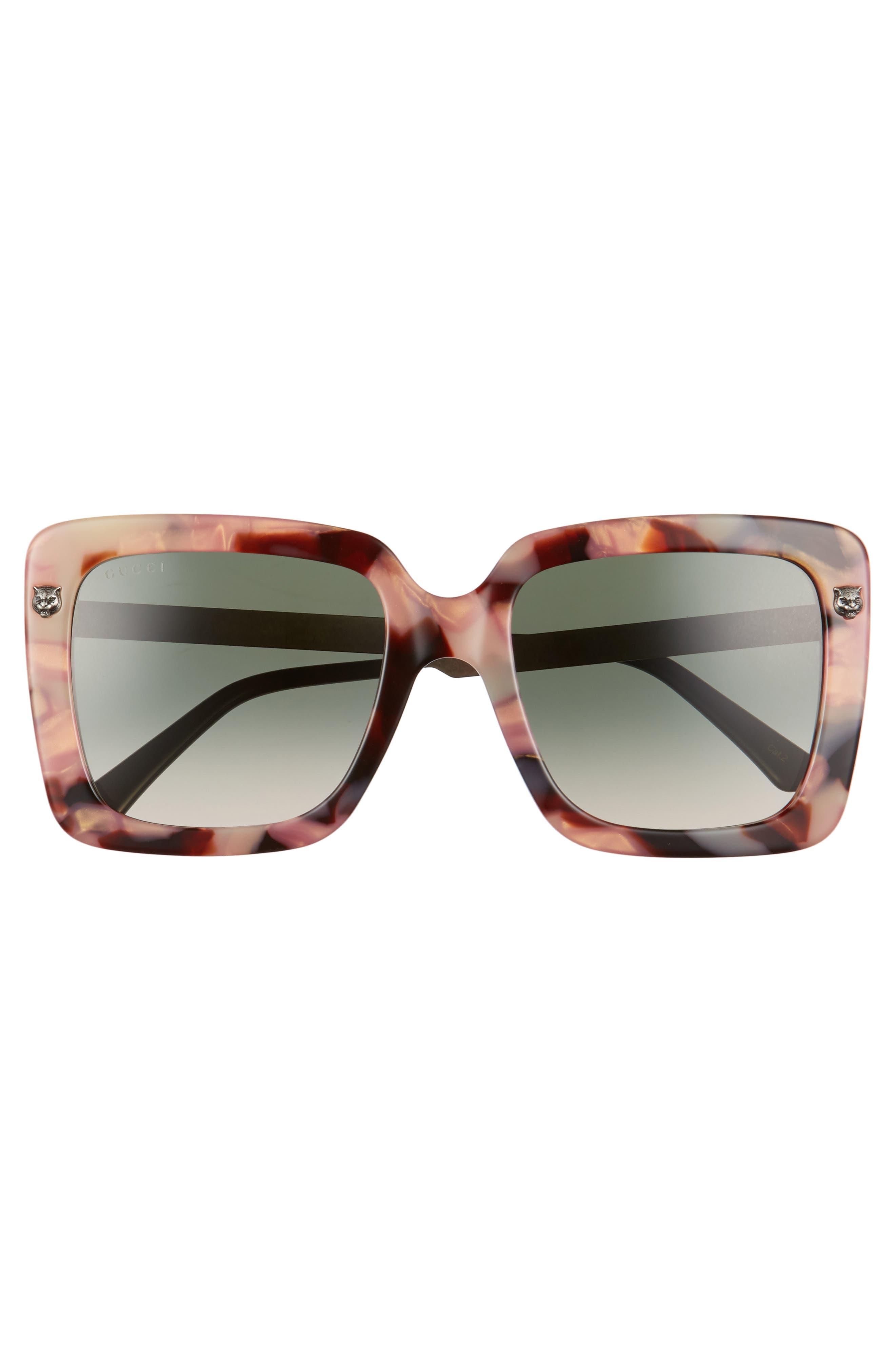 53mm Square Sunglasses,                             Alternate thumbnail 3, color,                             HAVANA