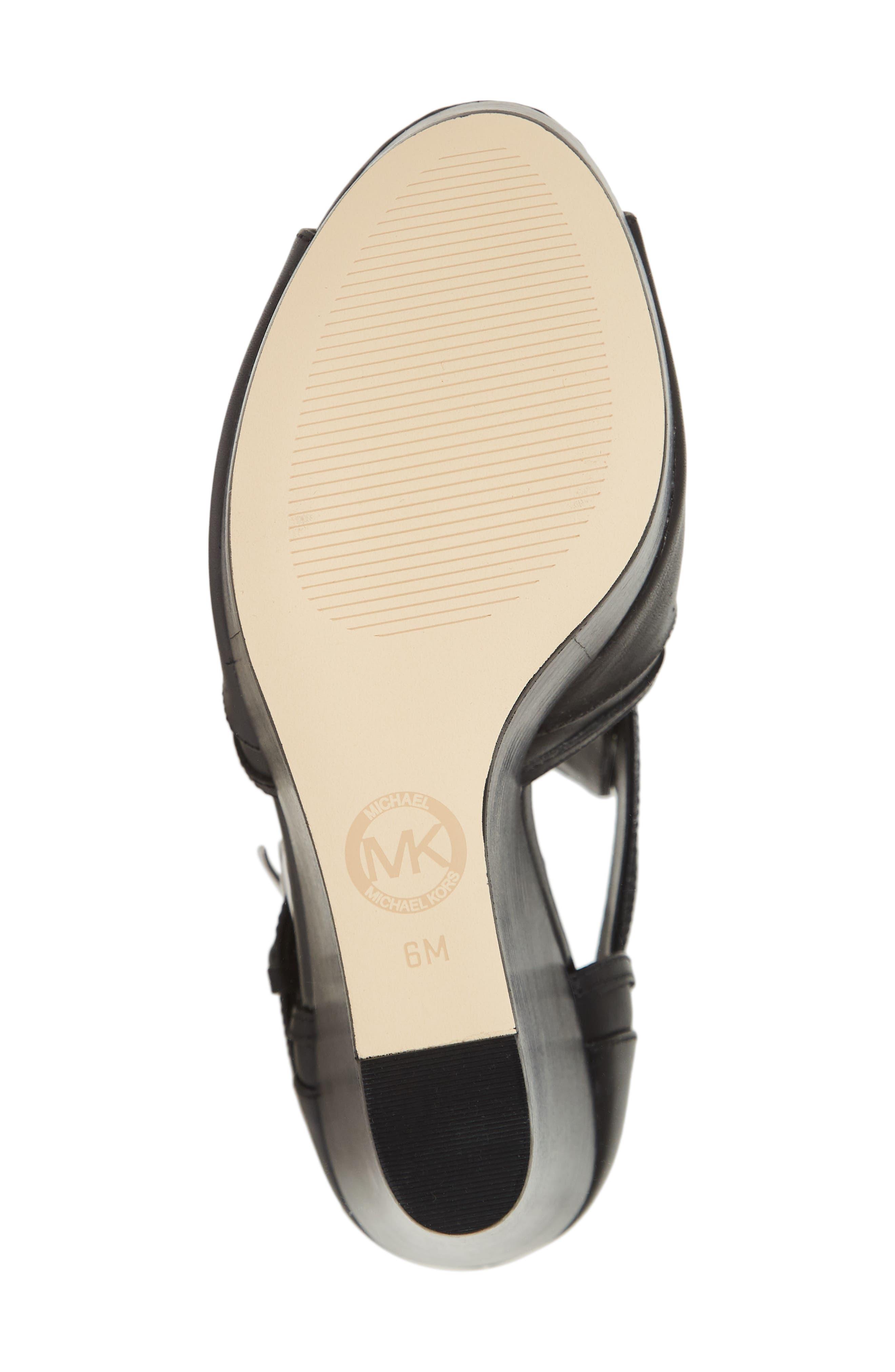 Blaze Wedge Sandal,                             Alternate thumbnail 6, color,                             BLACK VACHETTA LEATHER