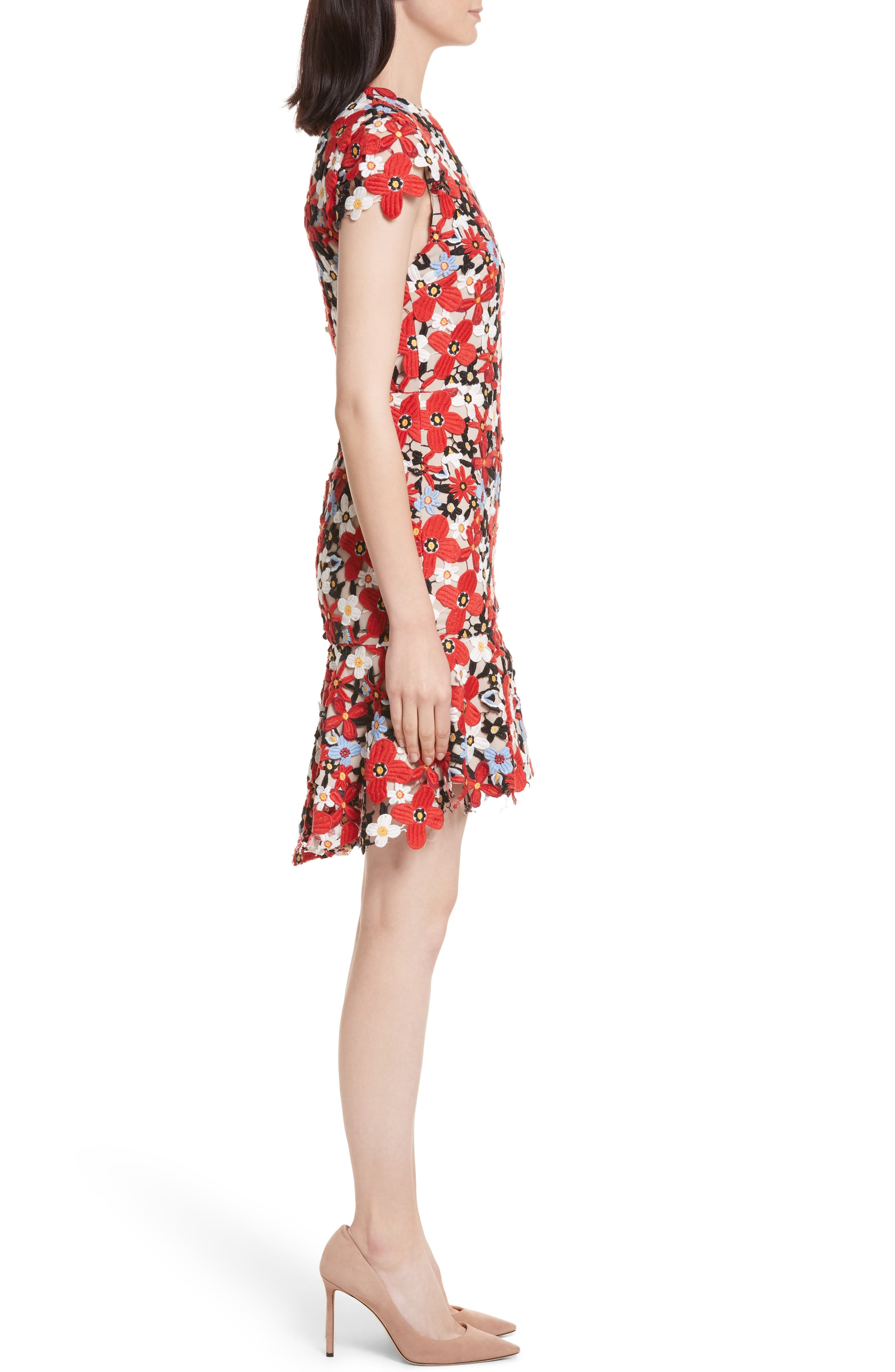 Imani Floral Fit & Flare Dress,                             Alternate thumbnail 3, color,                             606