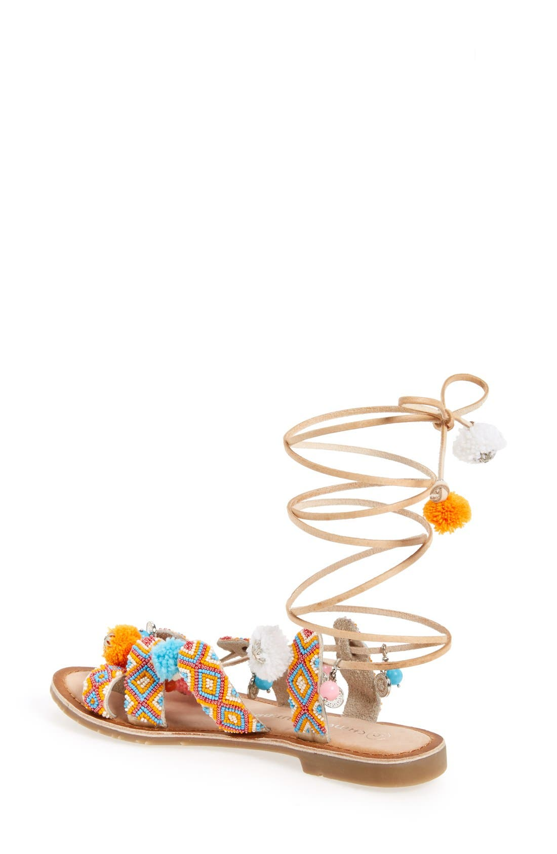 'Posh' Embellished Lace-Up Sandal,                             Alternate thumbnail 4, color,