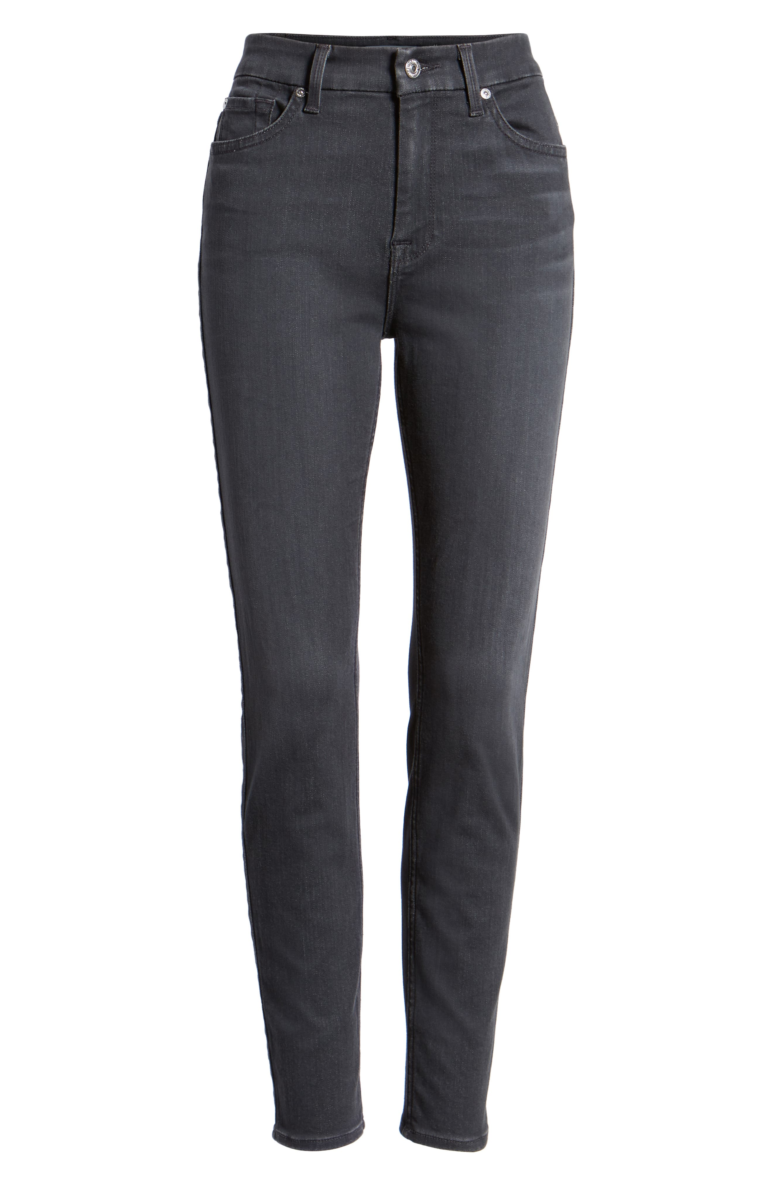 High Waist Ankle Skinny Jeans,                             Alternate thumbnail 7, color,                             GREY
