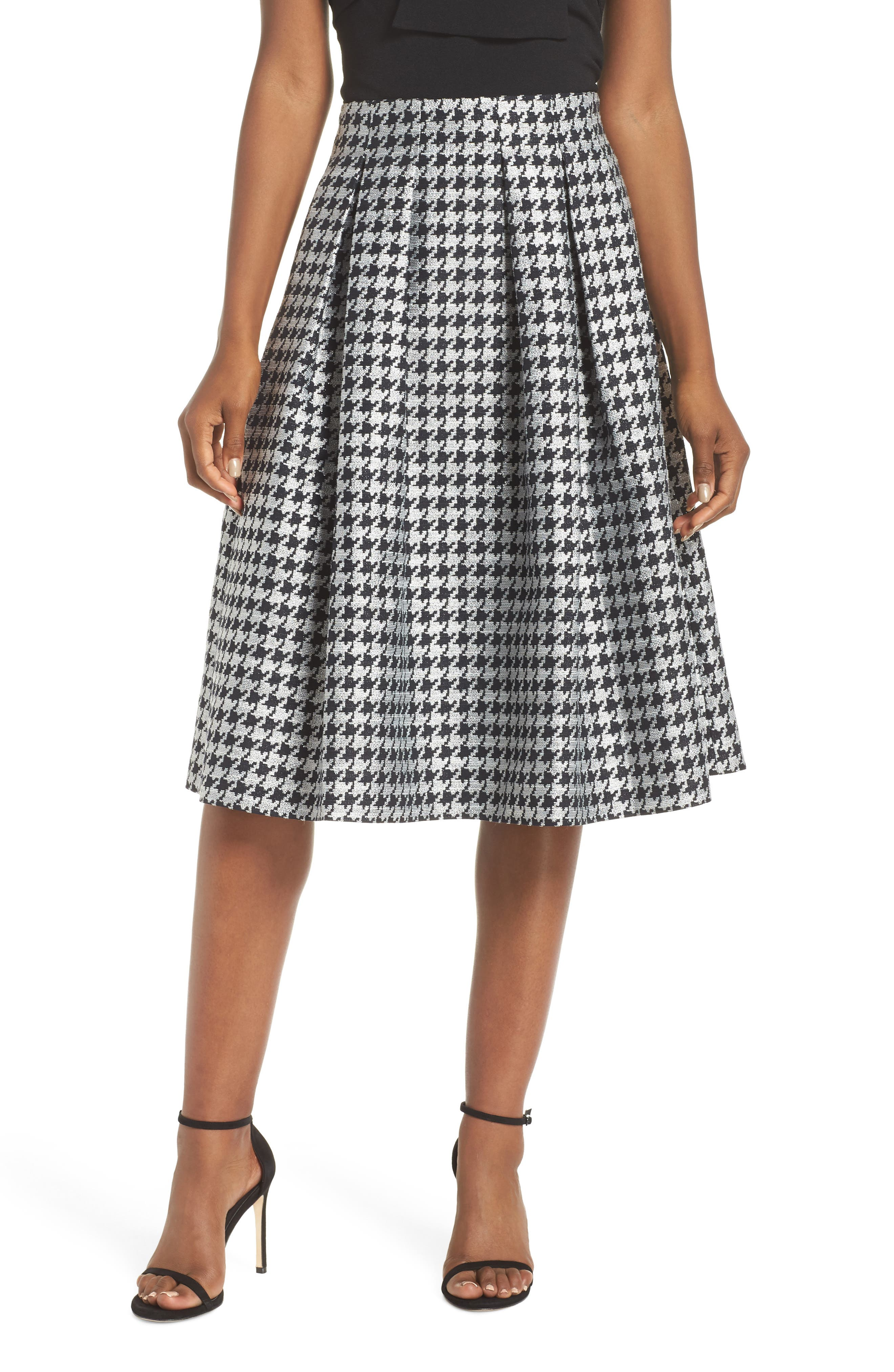 Houndstooth Pleated Skirt,                             Main thumbnail 1, color,                             001