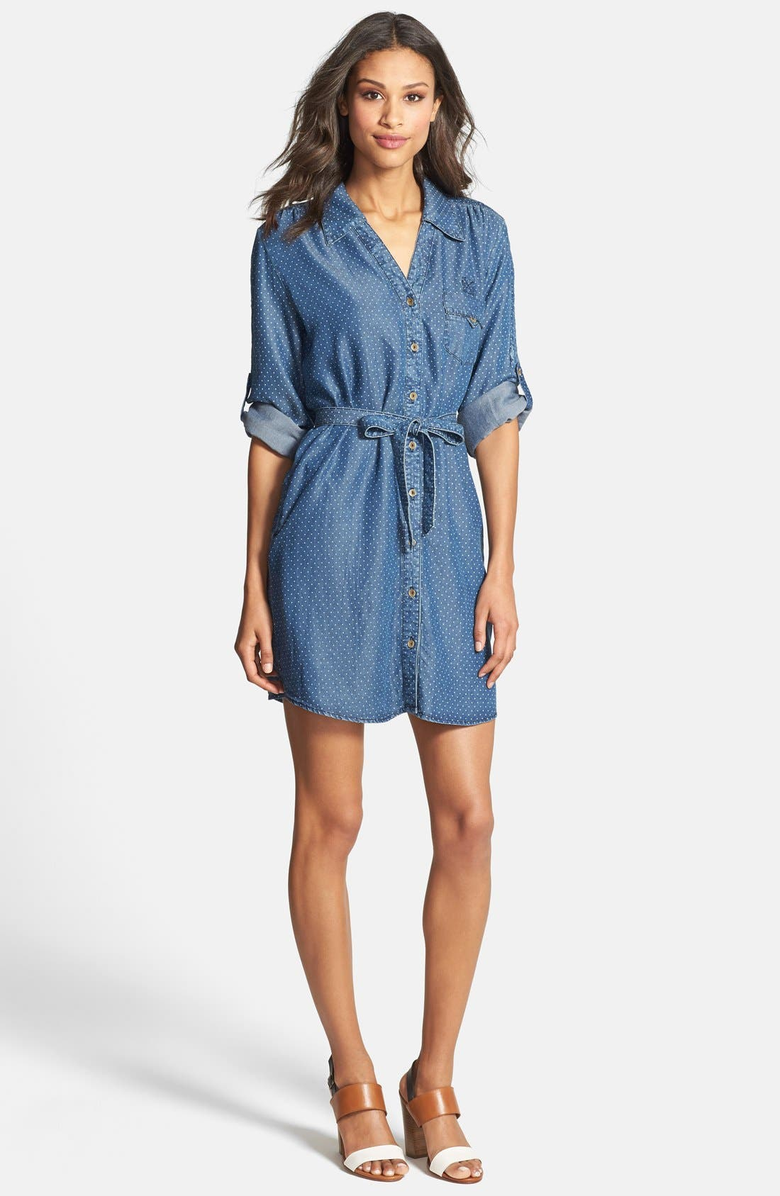 'Erin' Pin Dot Shirtdress,                             Alternate thumbnail 3, color,                             420